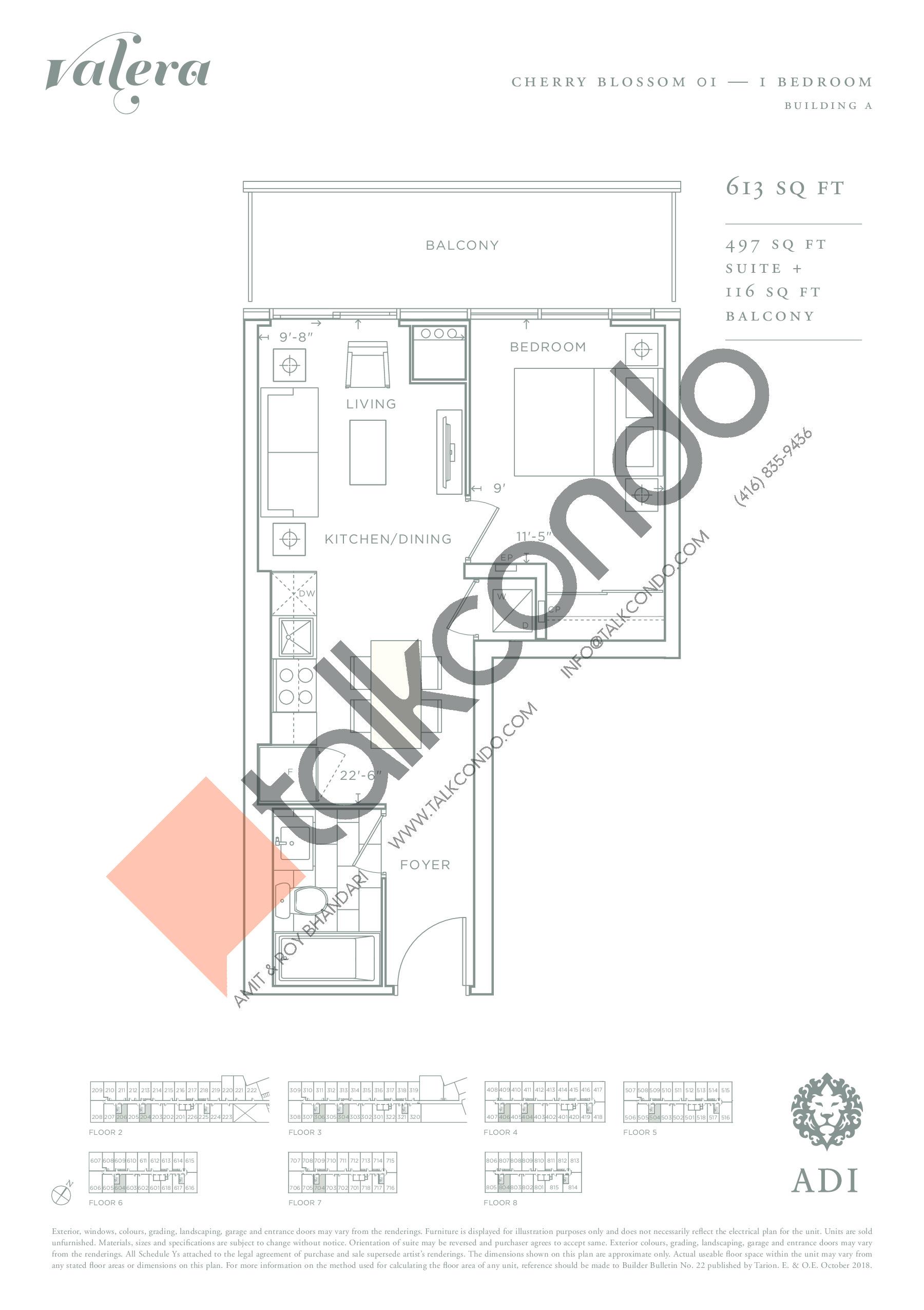 Cherry Blossom 01 Floor Plan at Valera Condos - 497 sq.ft