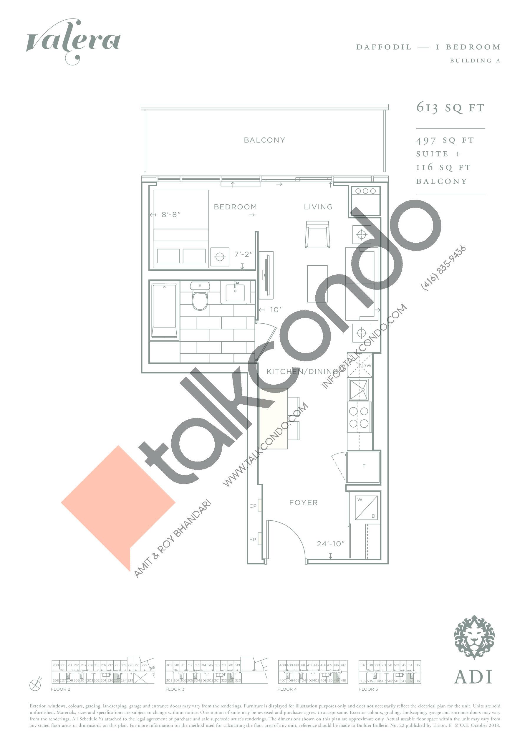 Daffodil Floor Plan at Valera Condos - 497 sq.ft