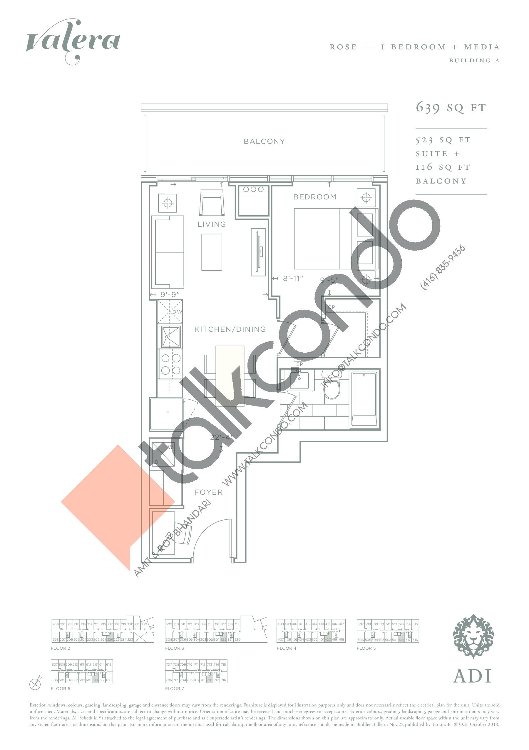 Rose Floor Plan at Valera Condos - 523 sq.ft