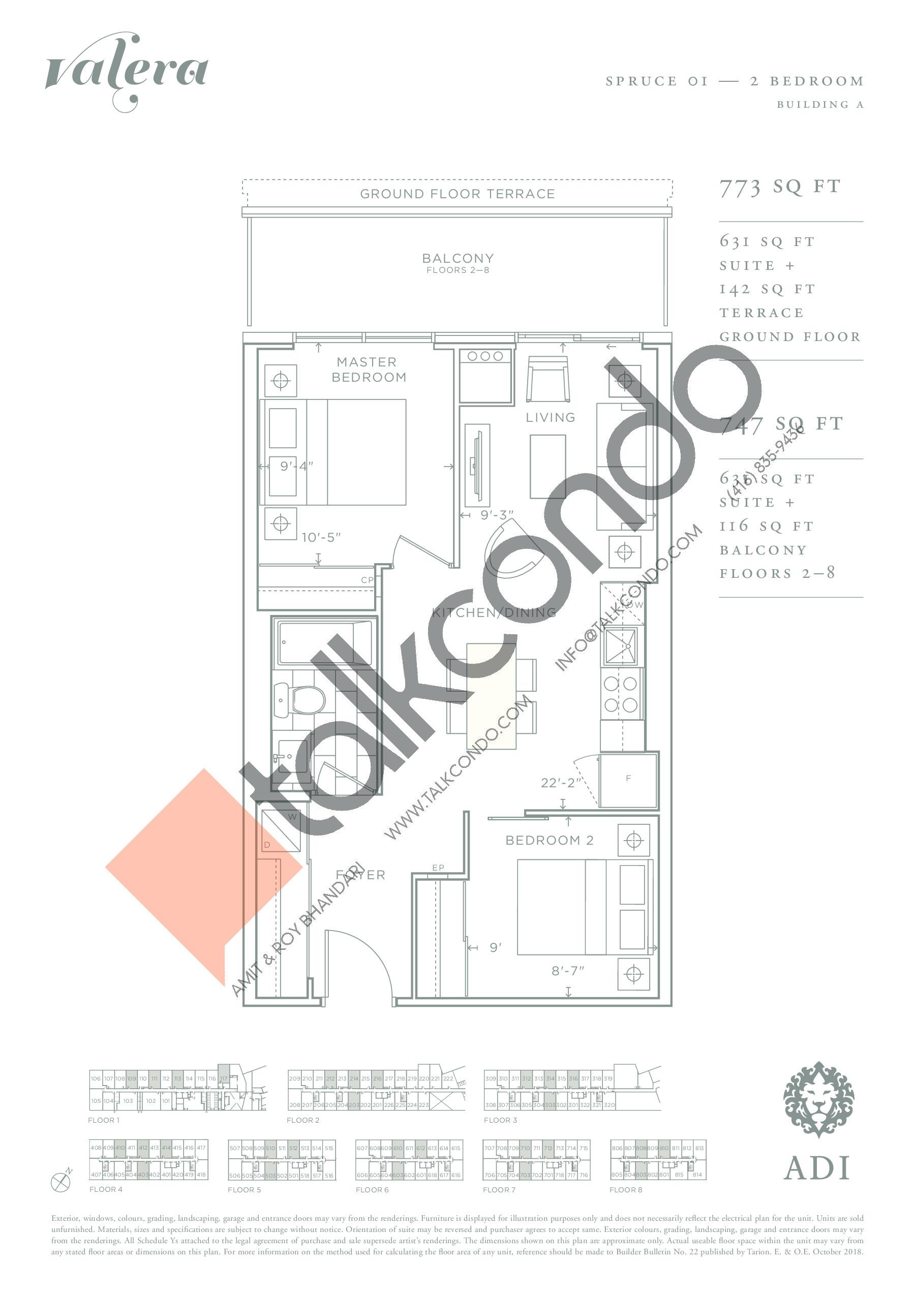 Spruce 01 Floor Plan at Valera Condos - 631 sq.ft