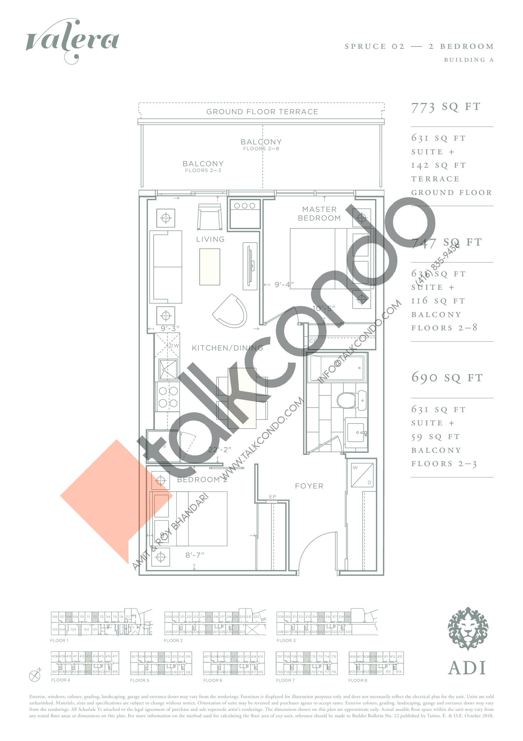 Spruce 02 Floor Plan at Valera Condos - 631 sq.ft