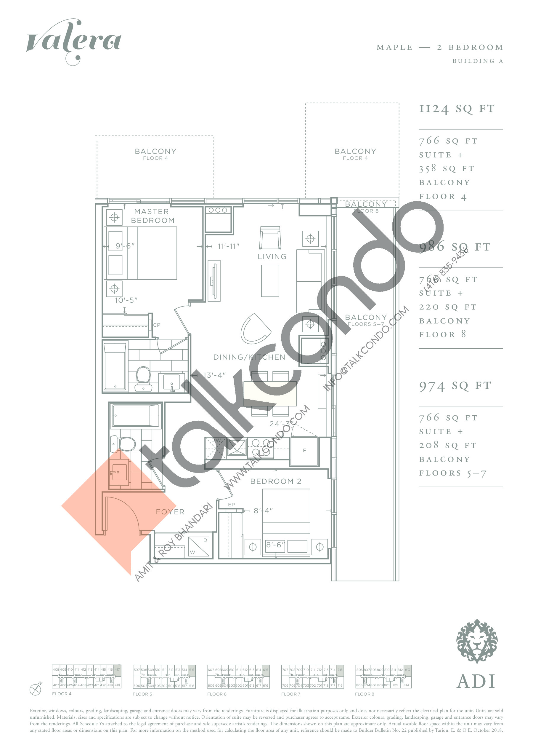 Maple Floor Plan at Valera Condos - 766 sq.ft