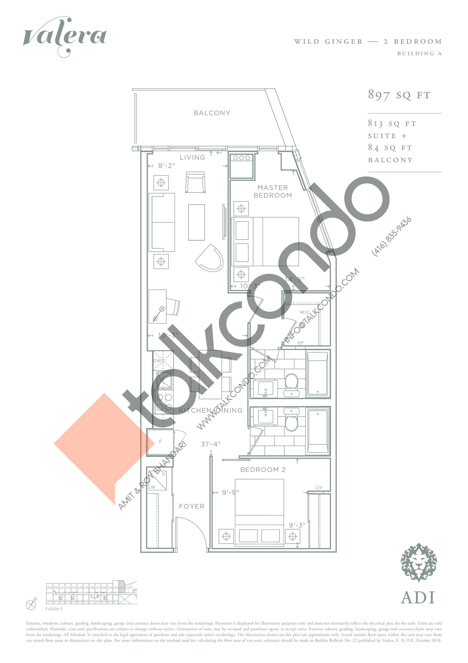 Wild Ginger Floor Plan at Valera Condos - 813 sq.ft
