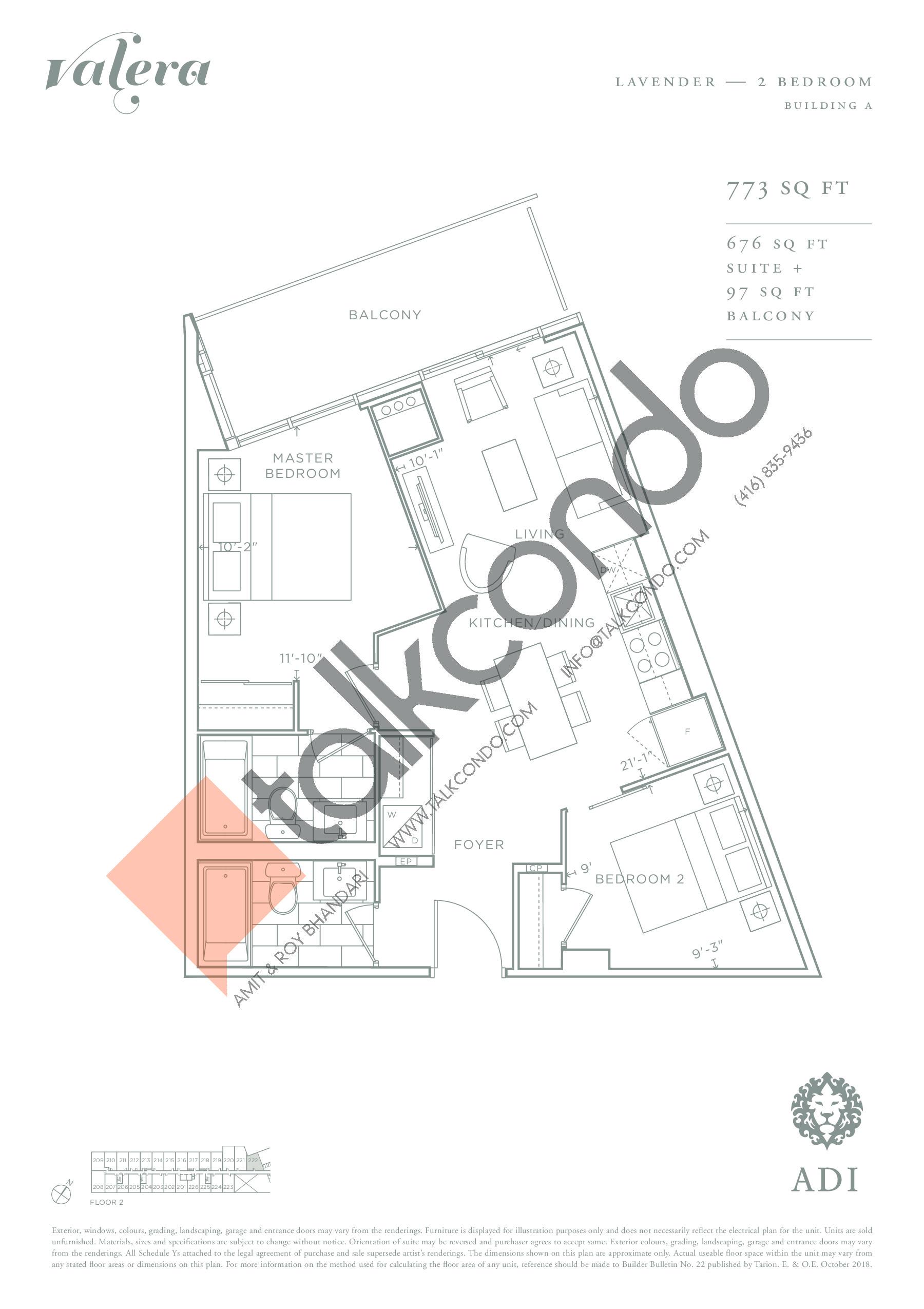 Lavender Floor Plan at Valera Condos - 676 sq.ft