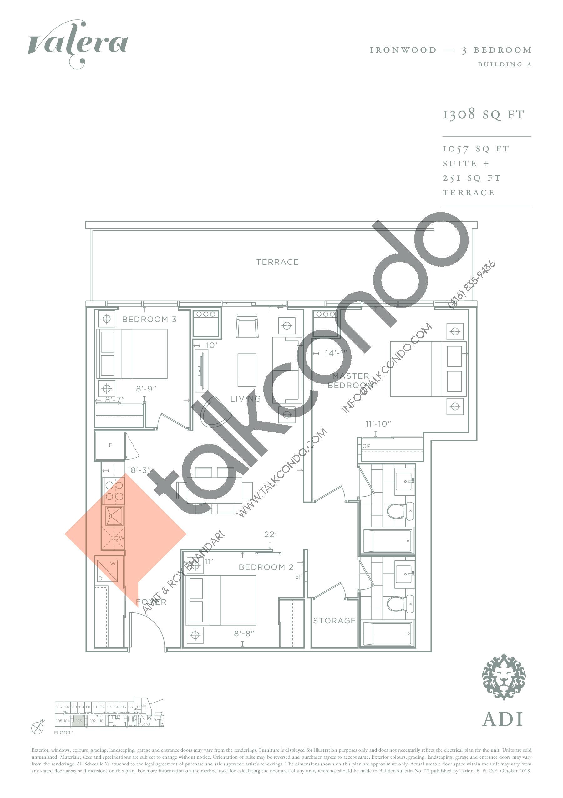Ironwood Floor Plan at Valera Condos - 1057 sq.ft