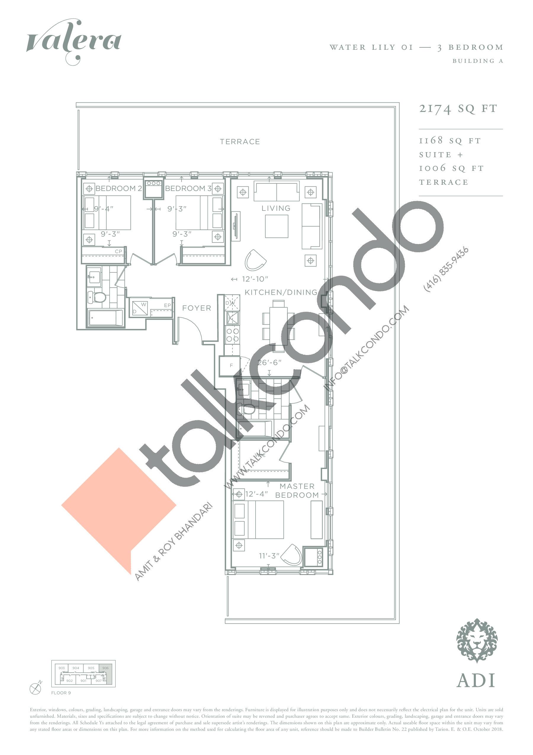 Water Lily 01 Floor Plan at Valera Condos - 1168 sq.ft