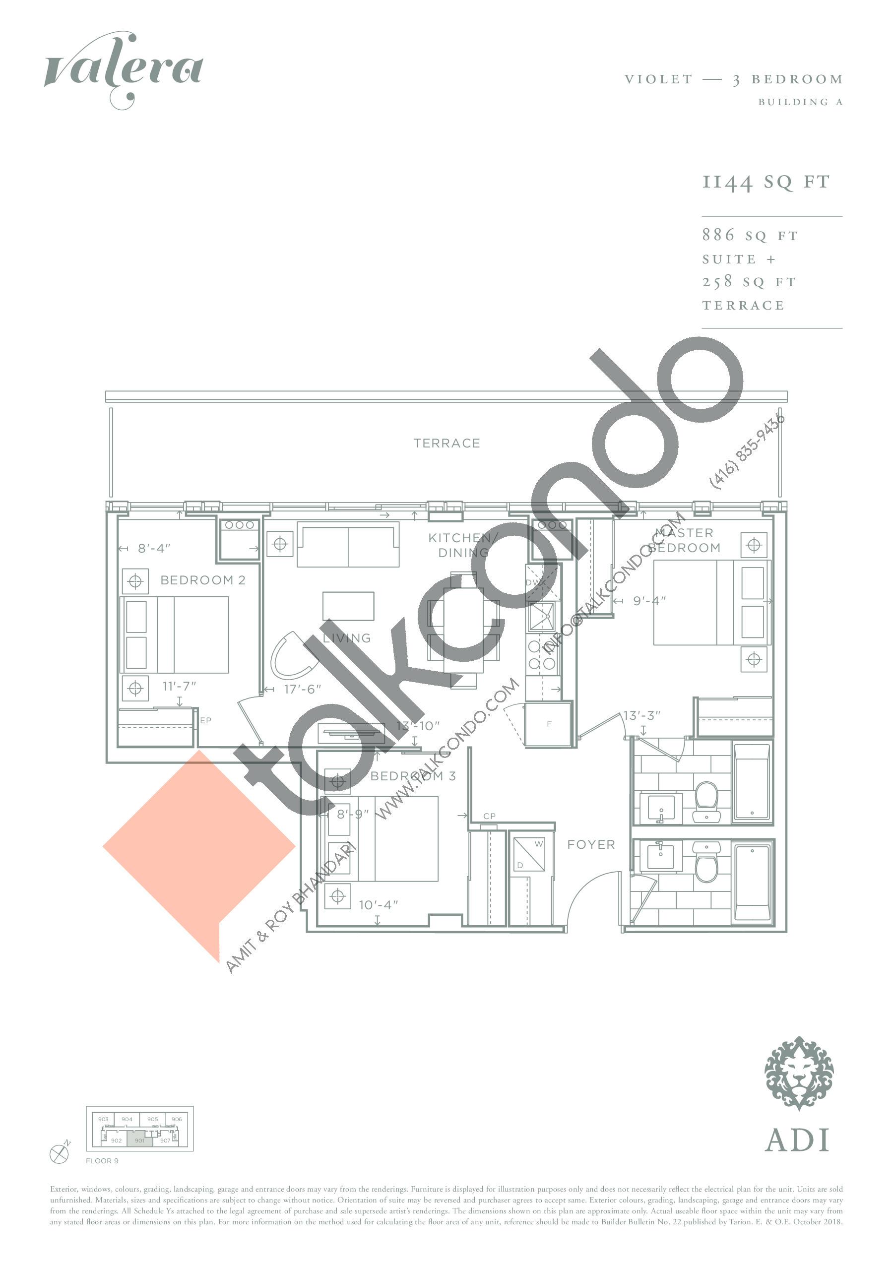 Violet Floor Plan at Valera Condos - 886 sq.ft