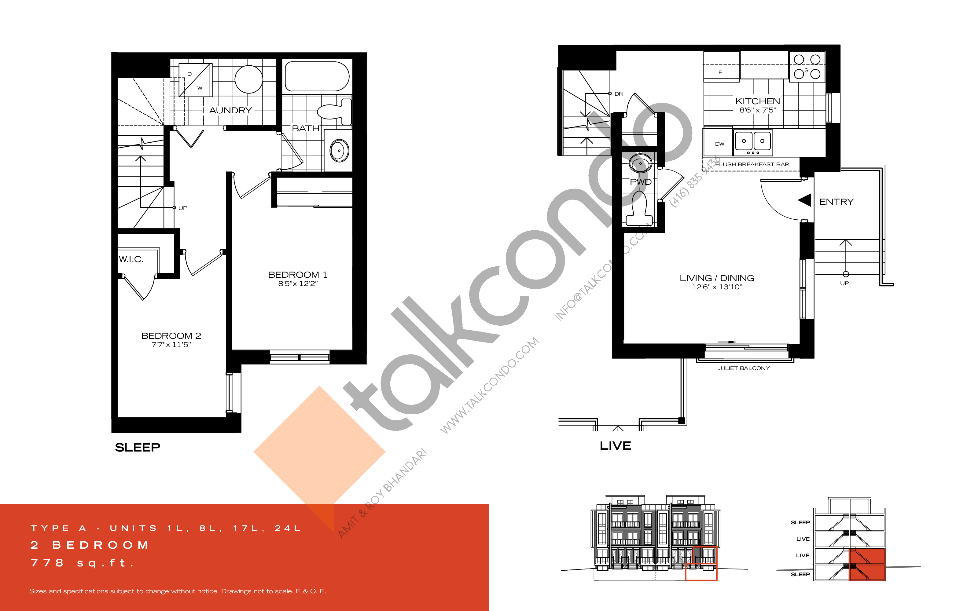 Type A Floor Plan at Wycliffe at the Promenade - 778 sq.ft