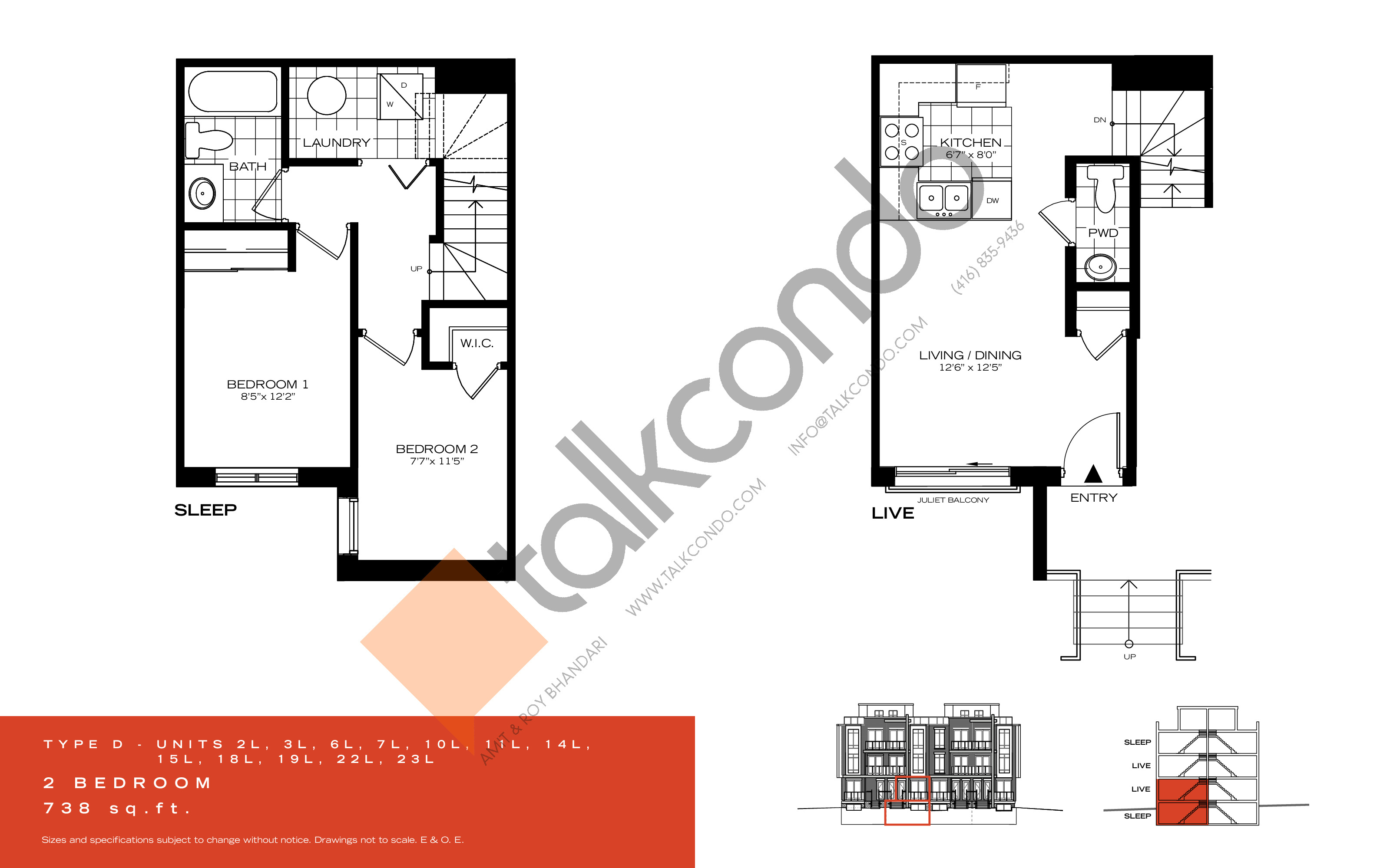 Type D Floor Plan at Wycliffe at the Promenade - 738 sq.ft