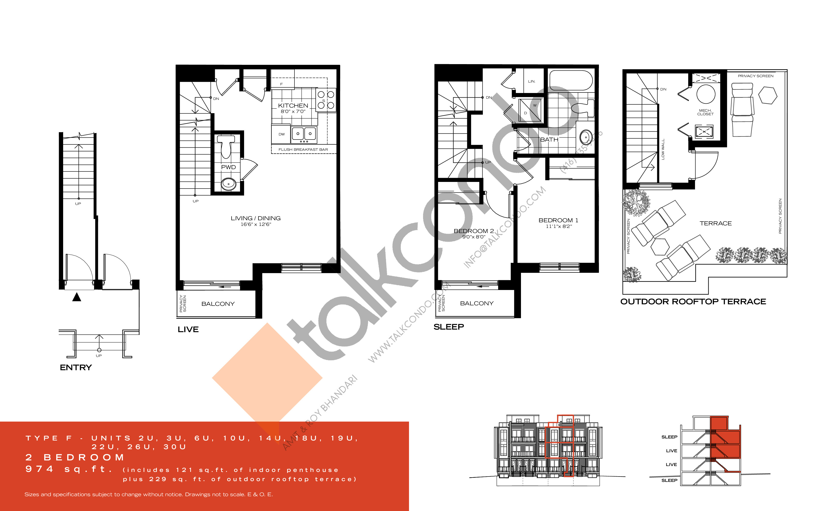 Type F Floor Plan at Wycliffe at the Promenade - 974 sq.ft
