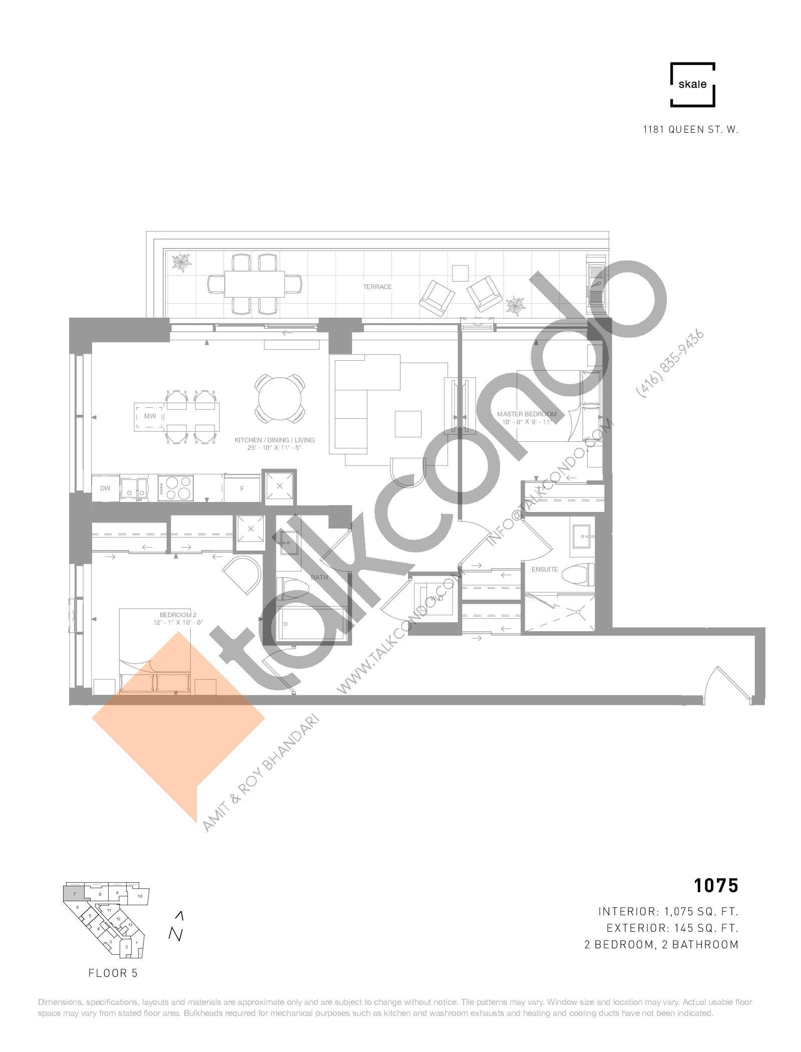 1075 Floor Plan at 1181 Queen West Condos - 1075 sq.ft