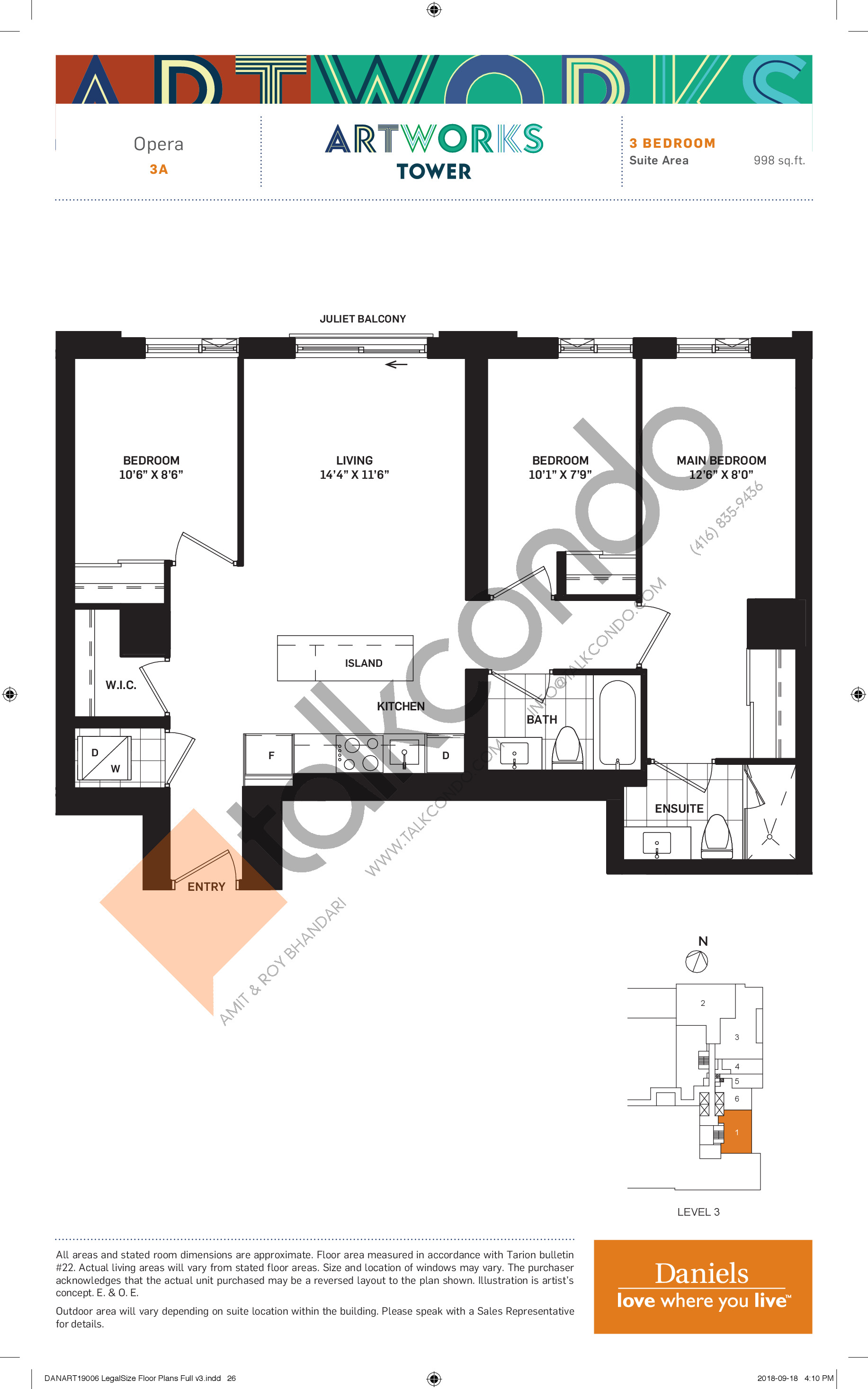Opera Floor Plan at Artworks Tower Condos - 998 sq.ft