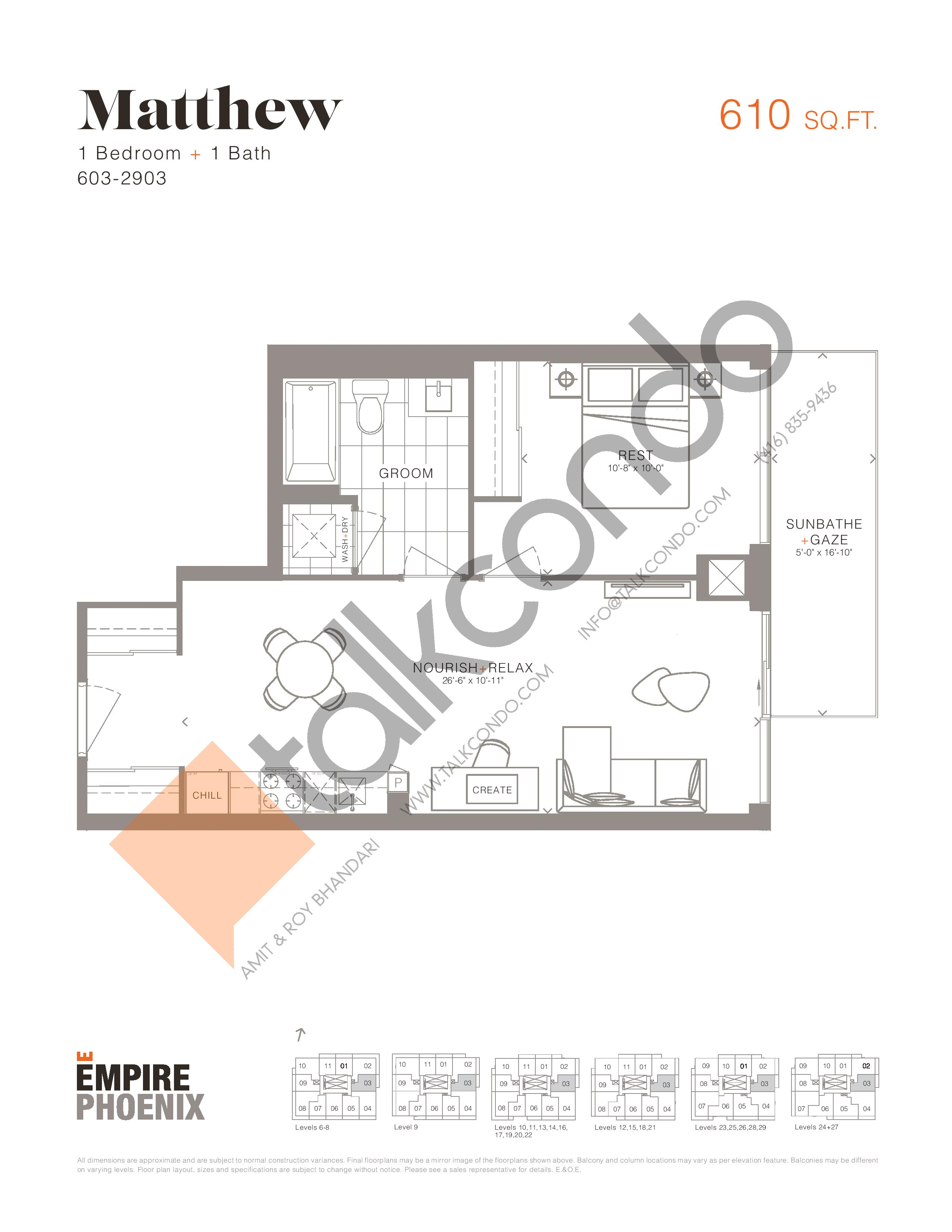 Matthew Floor Plan at Empire Phoenix Phase 2 Condos - 610 sq.ft