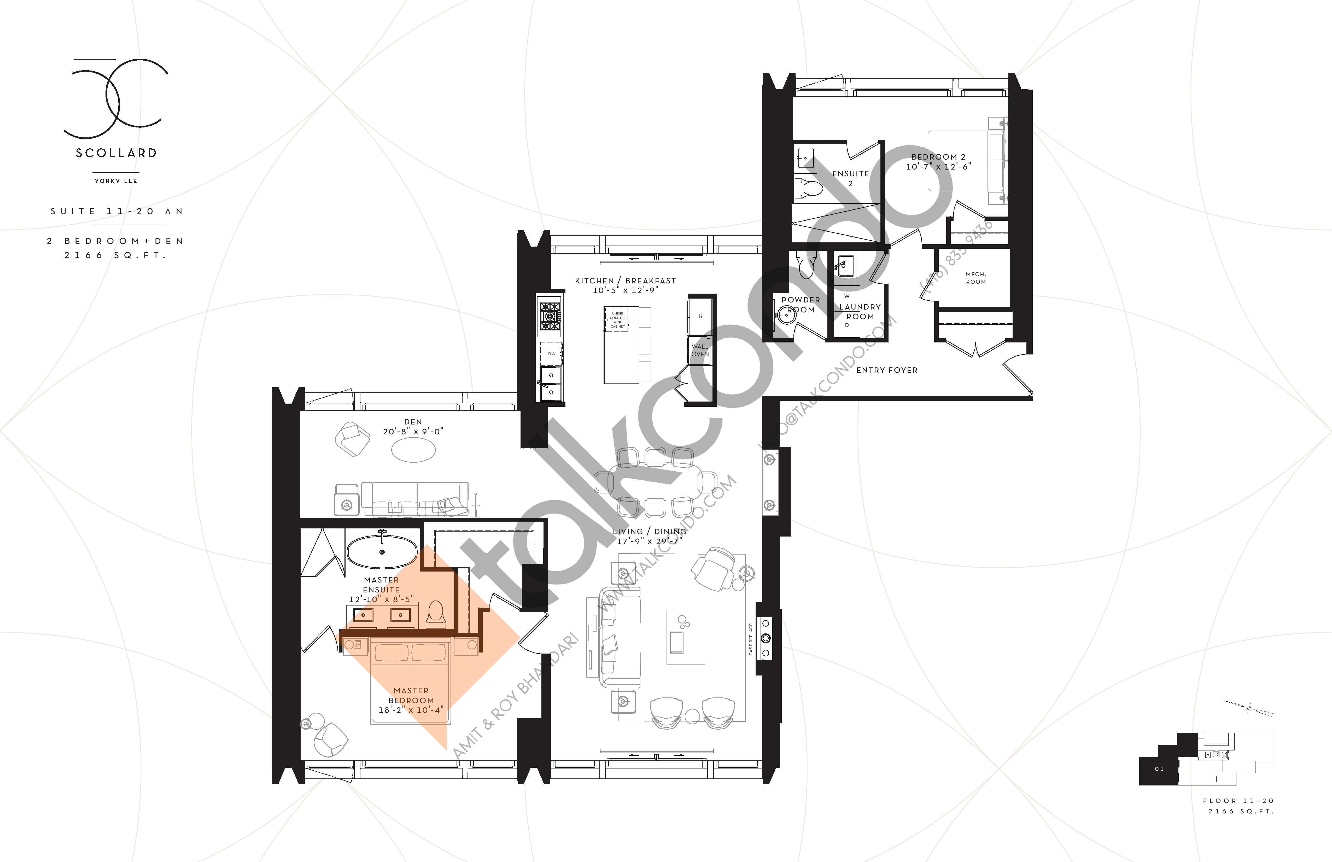 Suite 11-20AN Floor Plan at Fifty Scollard Condos - 2166 sq.ft