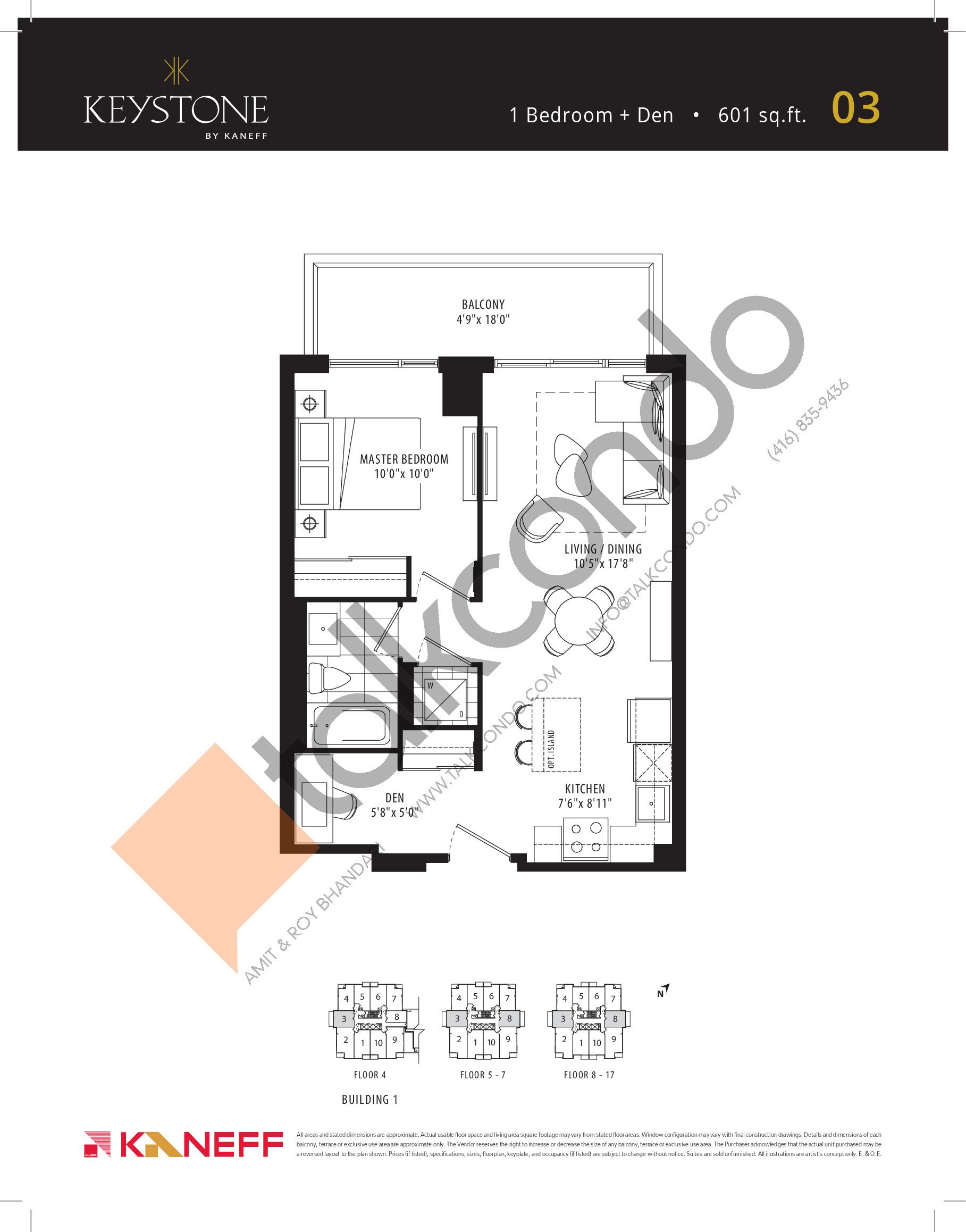 03 Floor Plan at Keystone Condos - 601 sq.ft