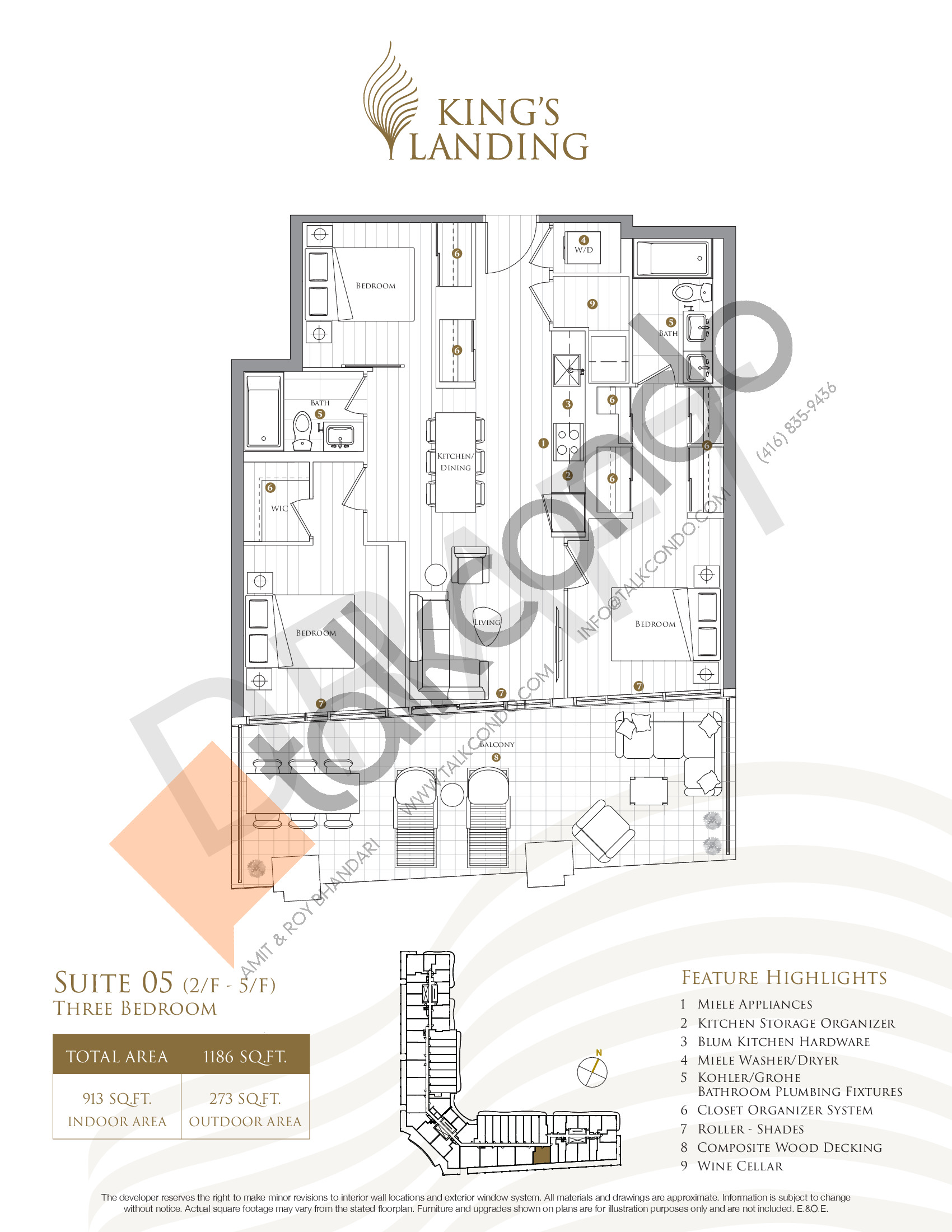 Suite 05 - Crescent Collection Floor Plan at King's Landing Condos - 913 sq.ft