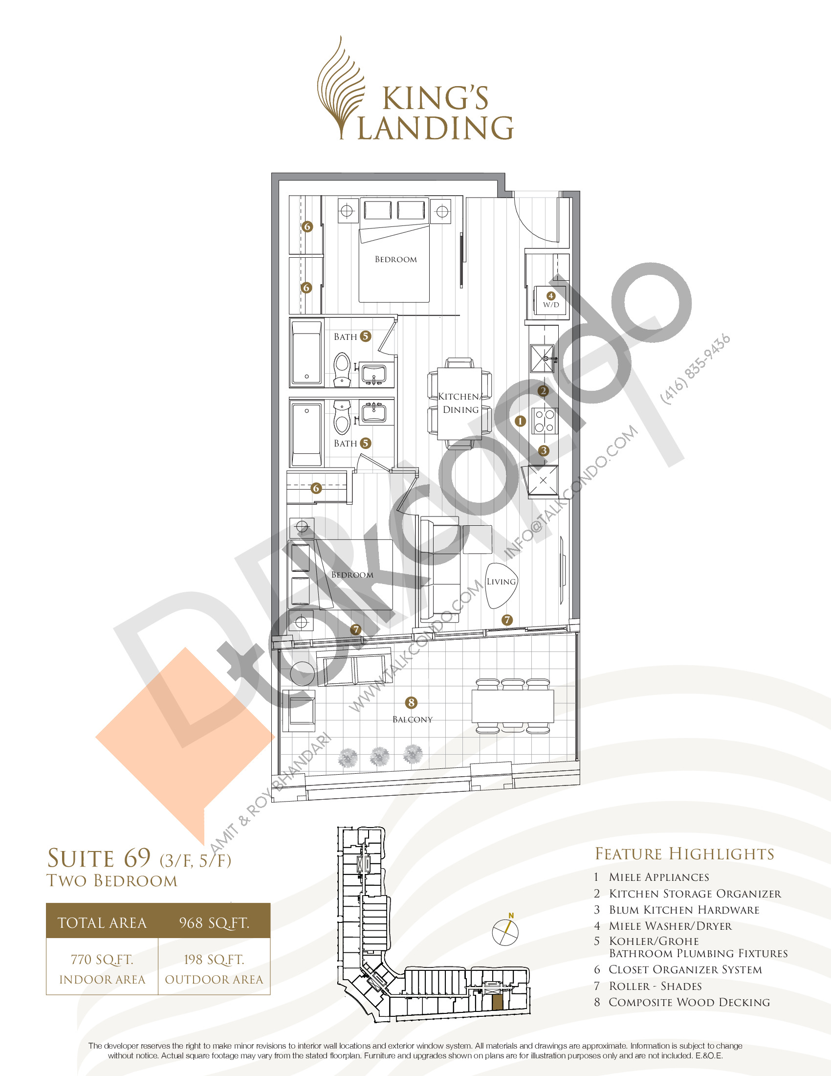 Suite 69 - Crescent Collection Floor Plan at King's Landing Condos - 770 sq.ft