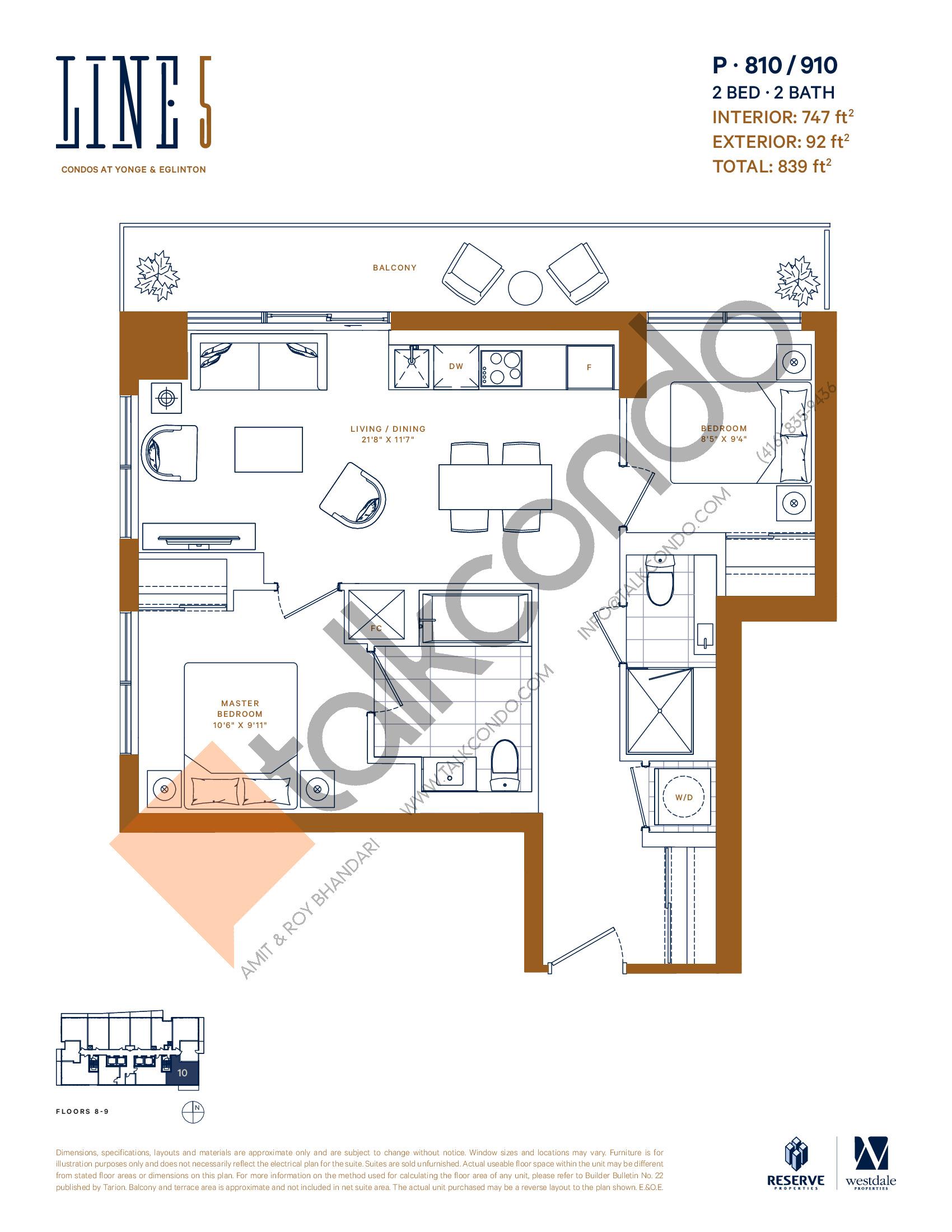 P-810 / 910 Floor Plan at Line 5 Condos - 747 sq.ft