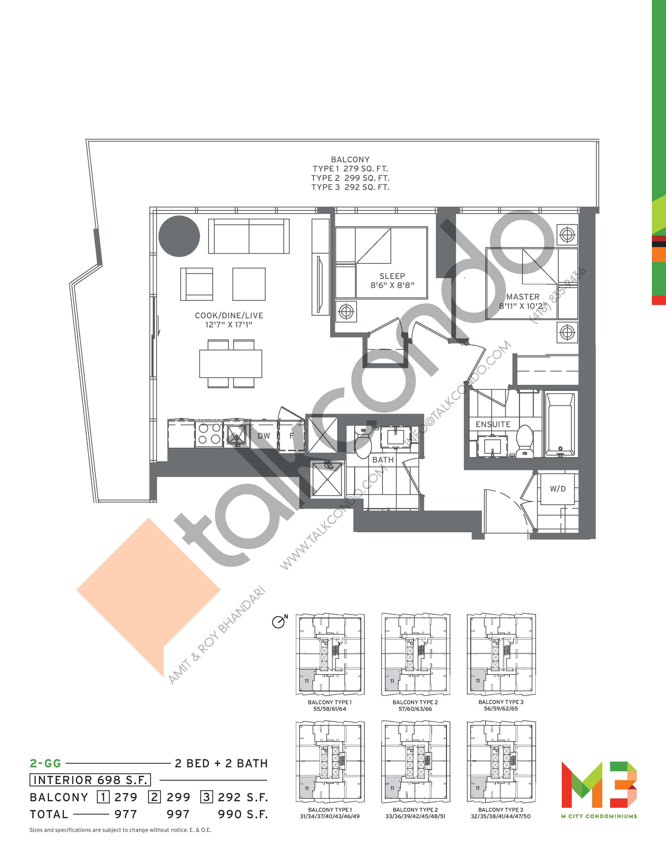 2-GG Floor Plan at M3 Condos - 698 sq.ft