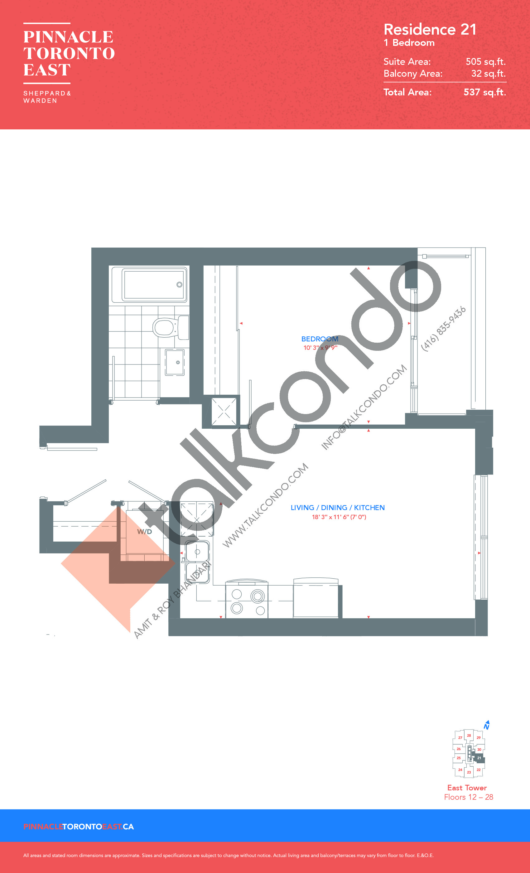 Residence 21 - East Tower Floor Plan at Pinnacle Toronto East Condos - 505 sq.ft