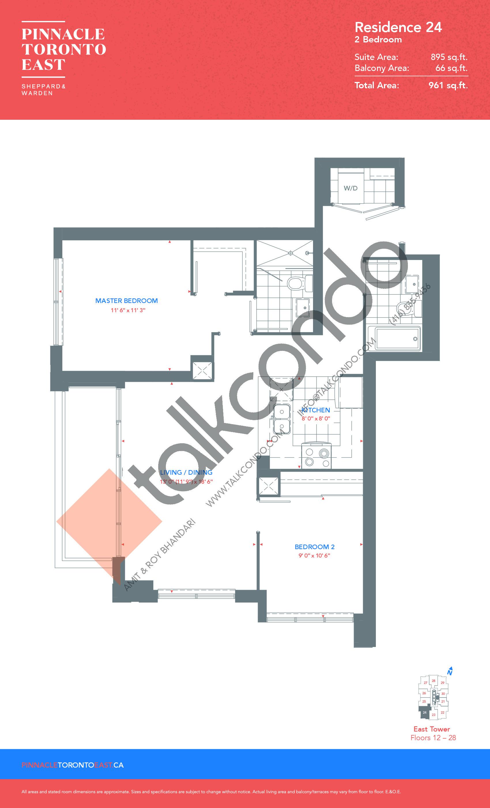 Residence 24 - East Tower Floor Plan at Pinnacle Toronto East Condos - 895 sq.ft