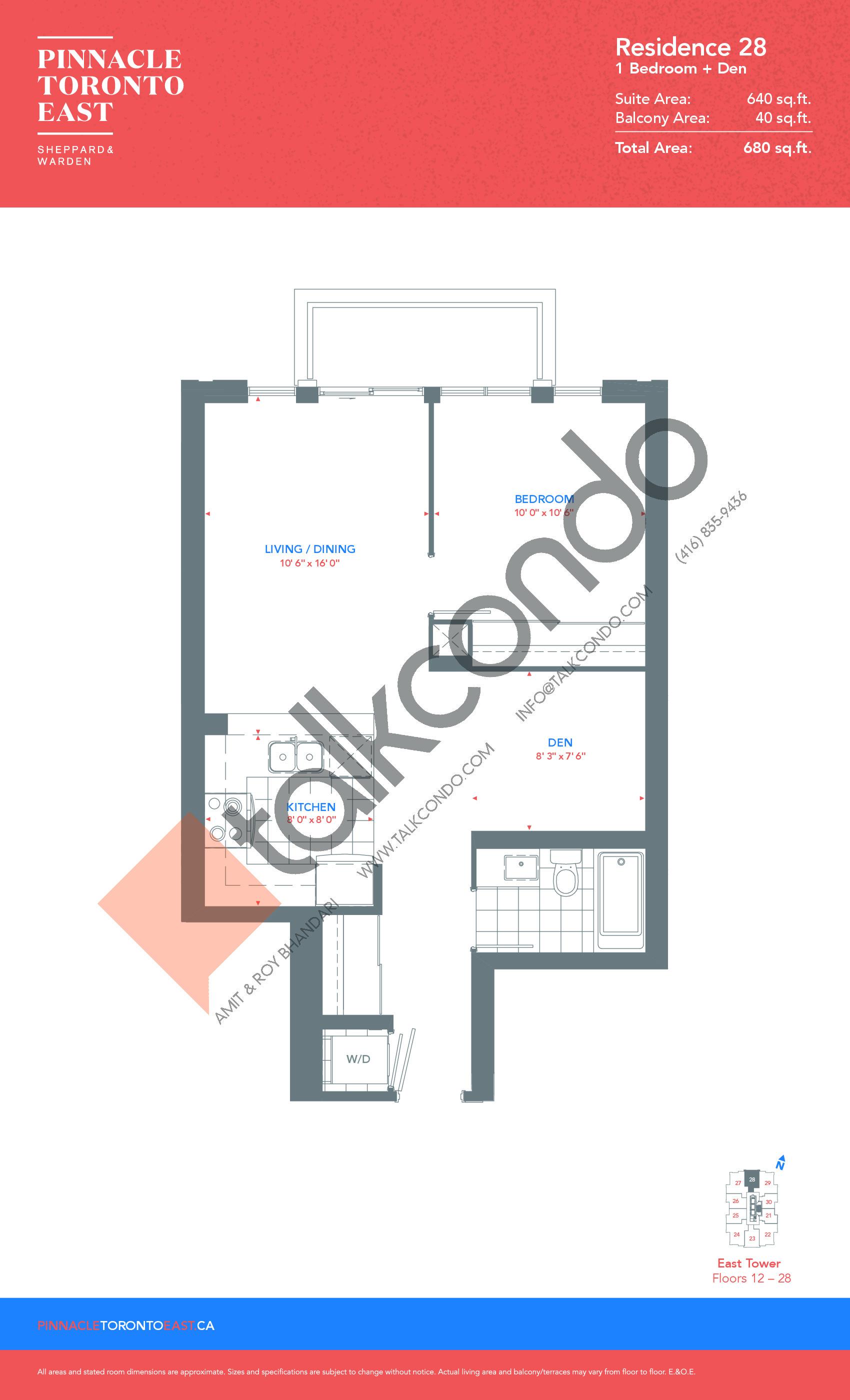 Residence 28 - East Tower Floor Plan at Pinnacle Toronto East Condos - 640 sq.ft