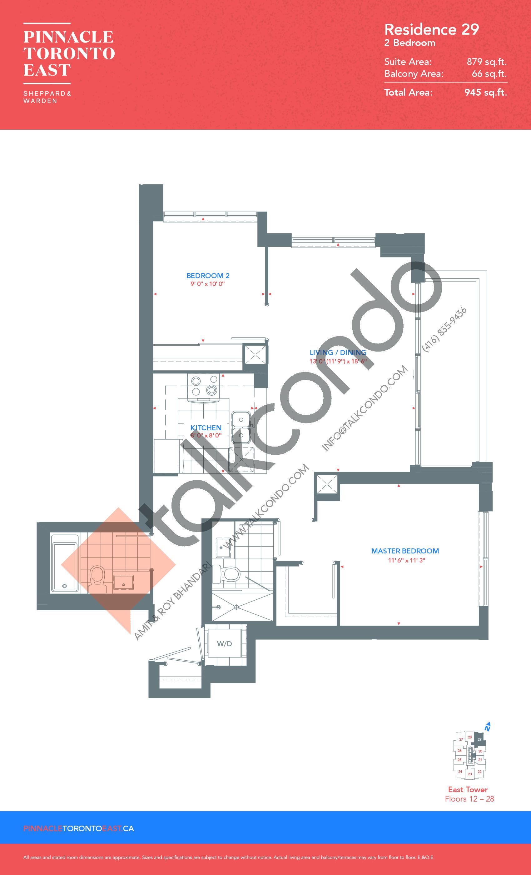 Residence 29 - East Tower Floor Plan at Pinnacle Toronto East Condos - 879 sq.ft