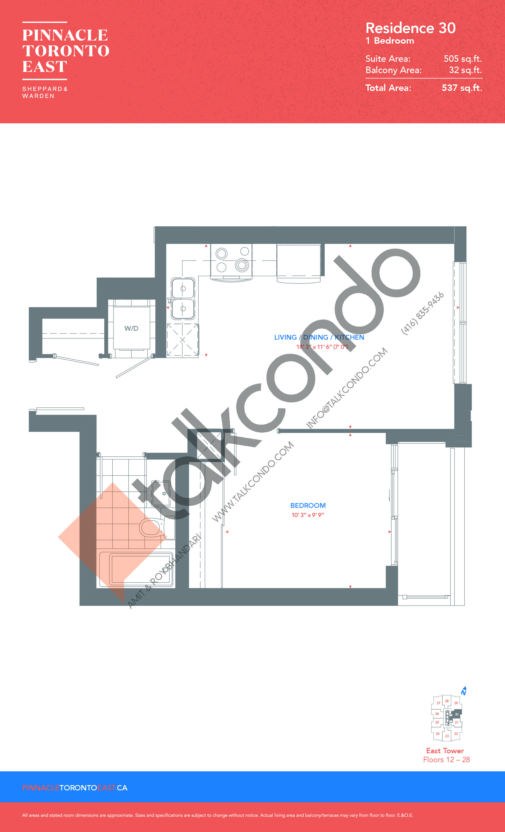 Residence 30 - East Tower Floor Plan at Pinnacle Toronto East Condos - 505 sq.ft