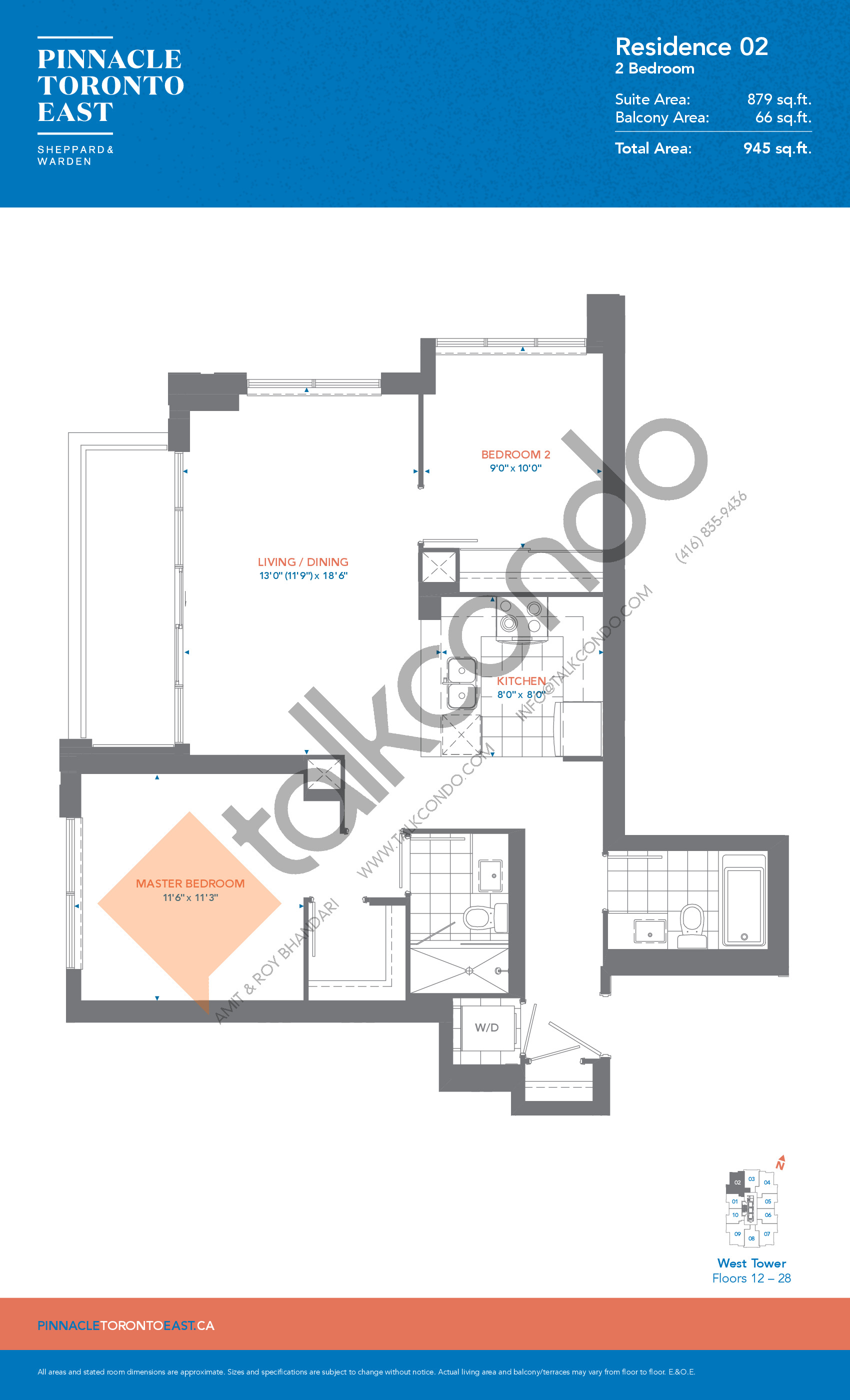 Residence 02 - West Tower Floor Plan at Pinnacle Toronto East Condos - 879 sq.ft
