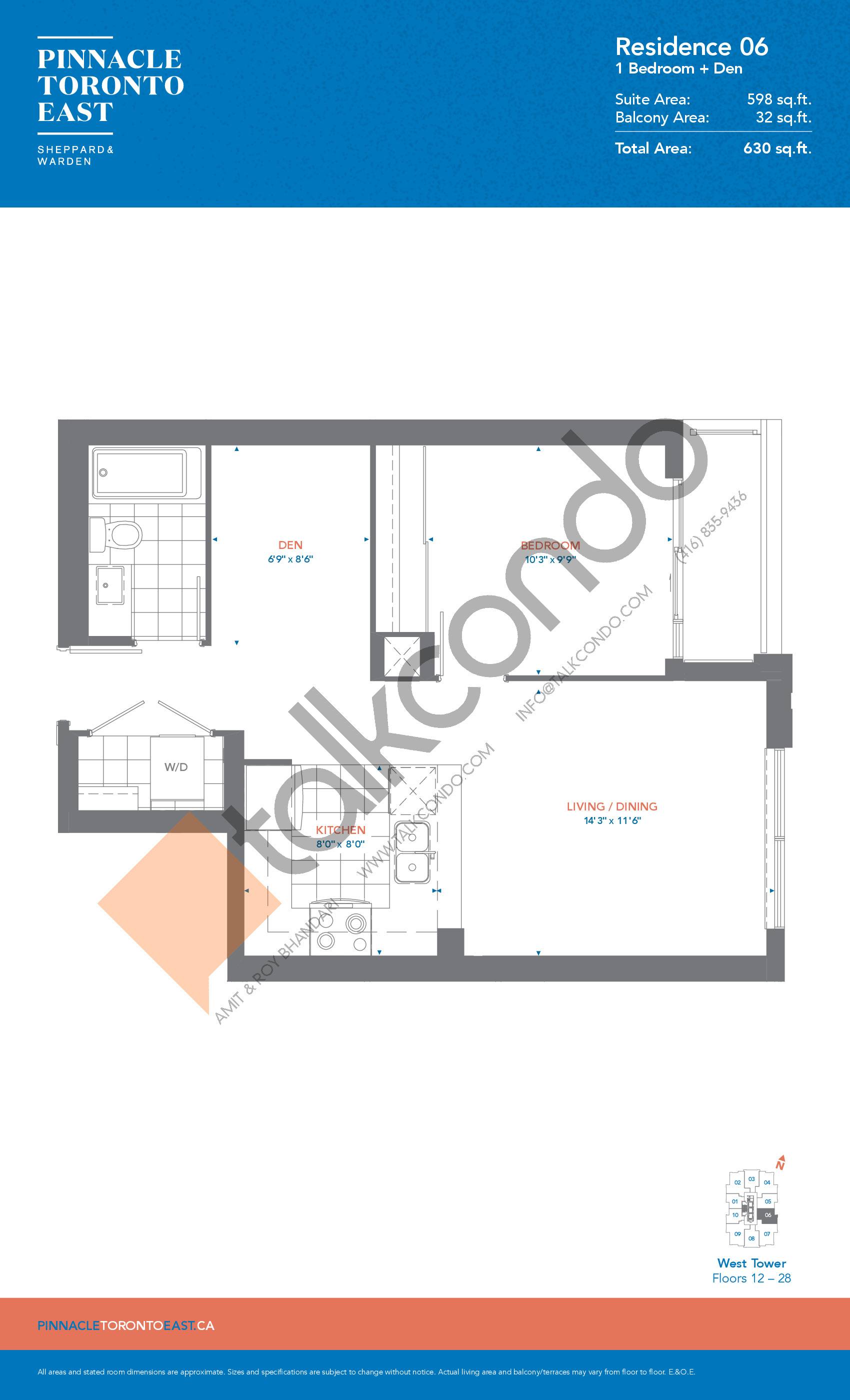 Residence 06 - West Tower Floor Plan at Pinnacle Toronto East Condos - 598 sq.ft