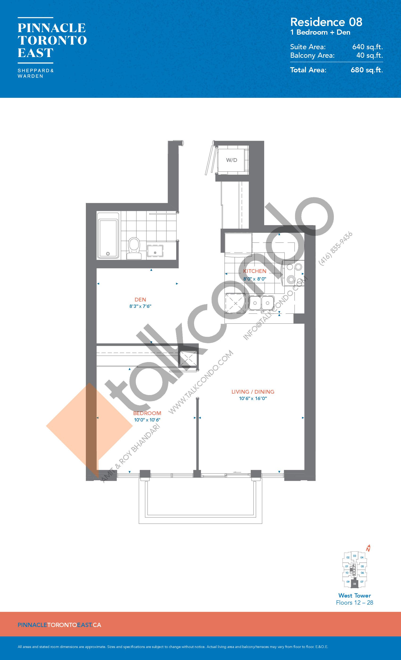 Residence 08 - West Tower Floor Plan at Pinnacle Toronto East Condos - 640 sq.ft