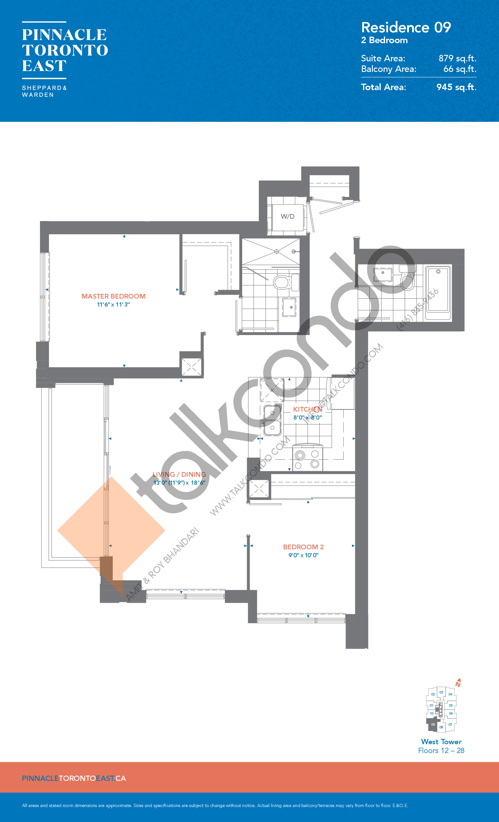 Residence 09 - West Tower Floor Plan at Pinnacle Toronto East Condos - 879 sq.ft