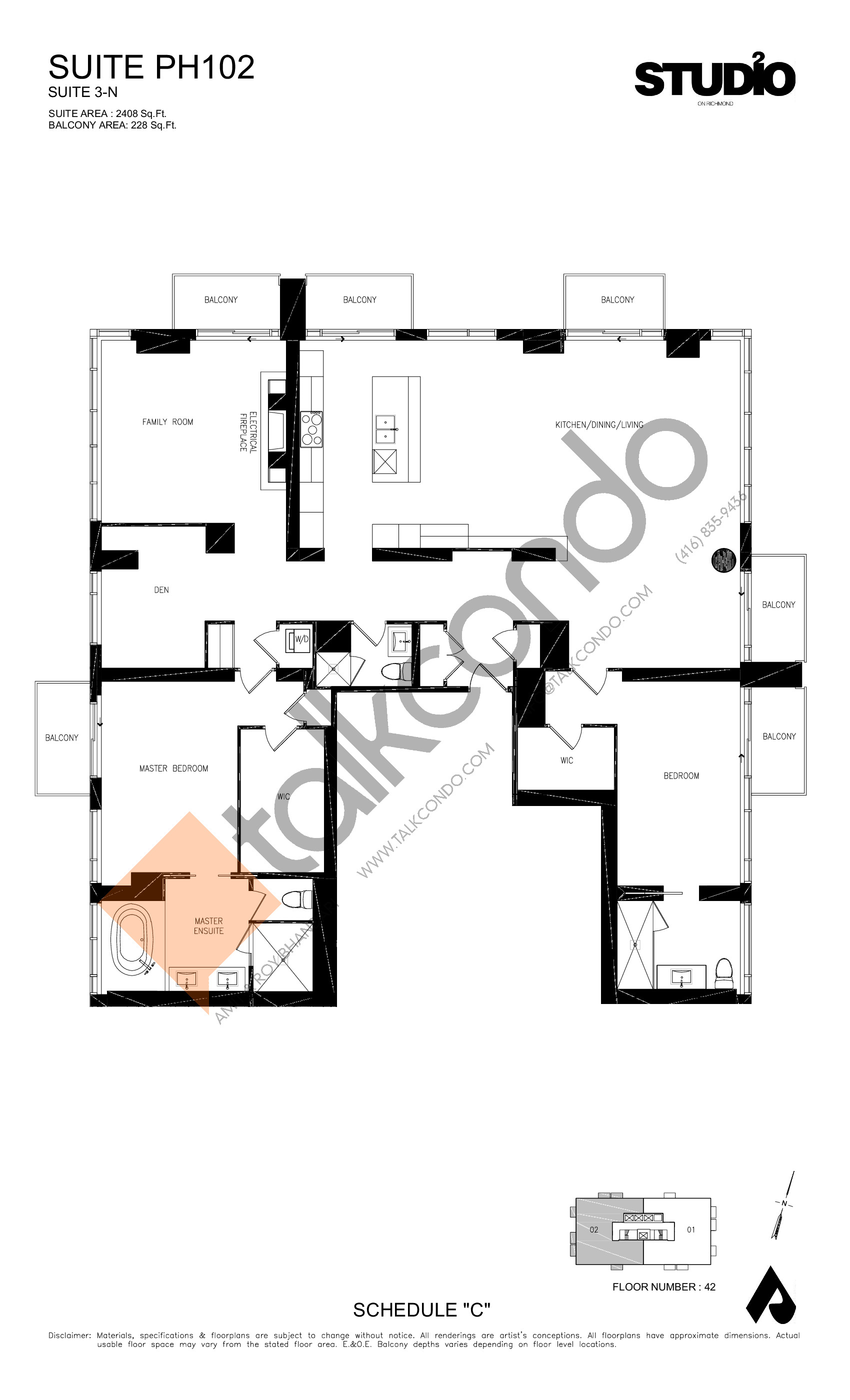 Suite PH102 - 3-N Floor Plan at Studio 2 Condos - 2408 sq.ft