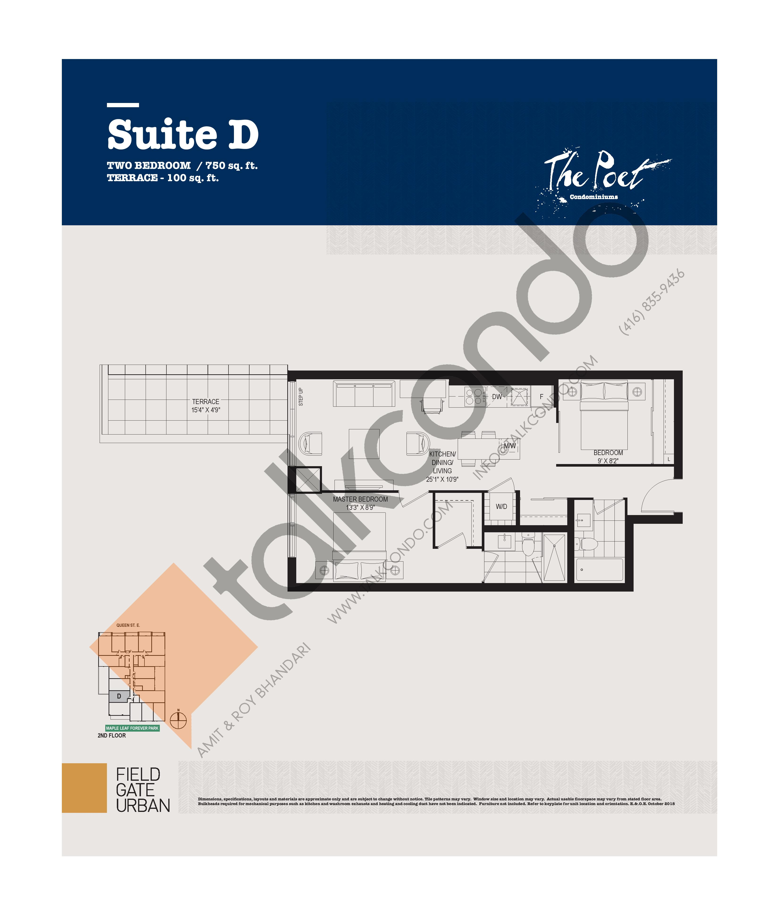 D Floor Plan at The Poet Condos - 750 sq.ft