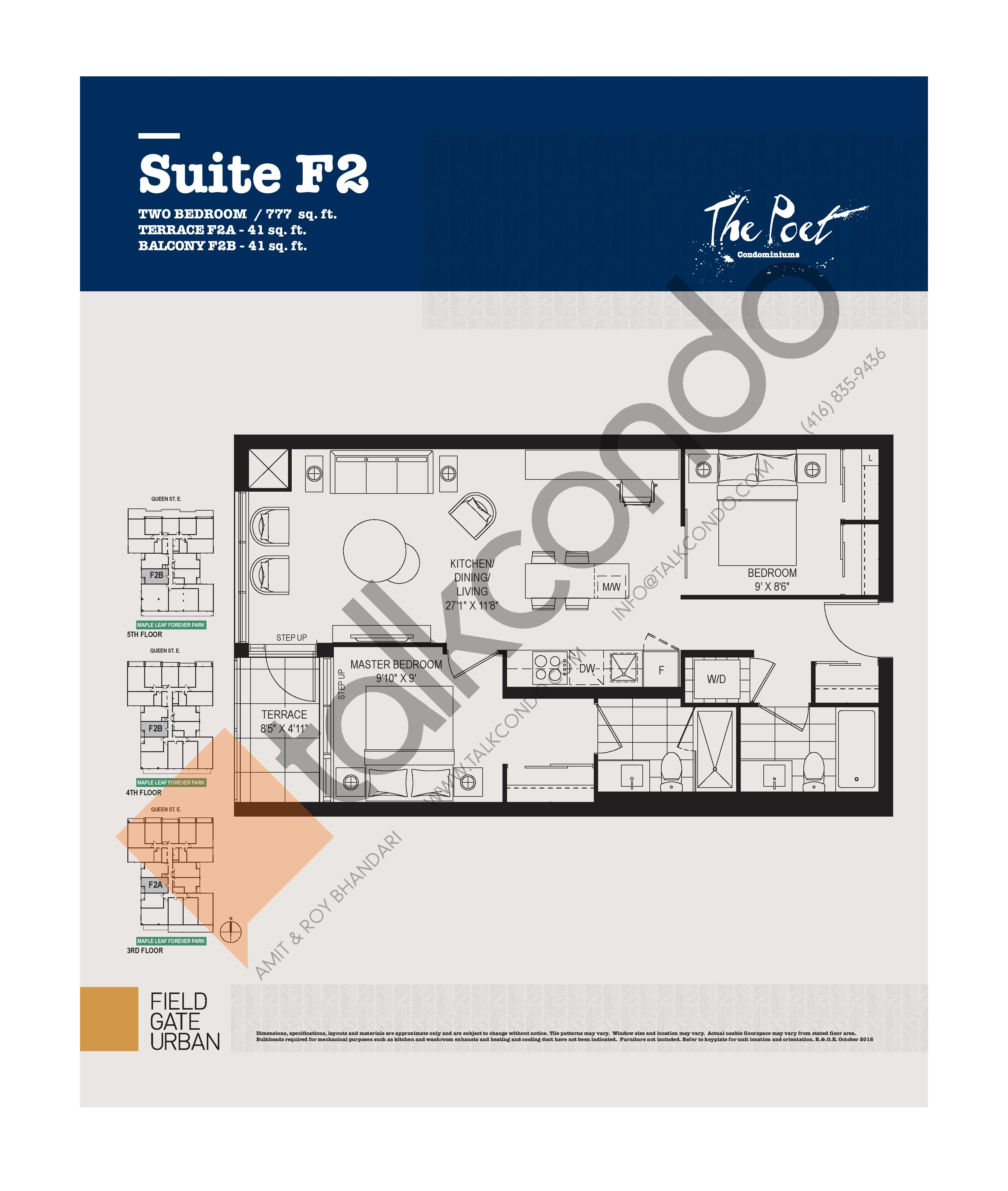 F2 Floor Plan at The Poet Condos - 777 sq.ft