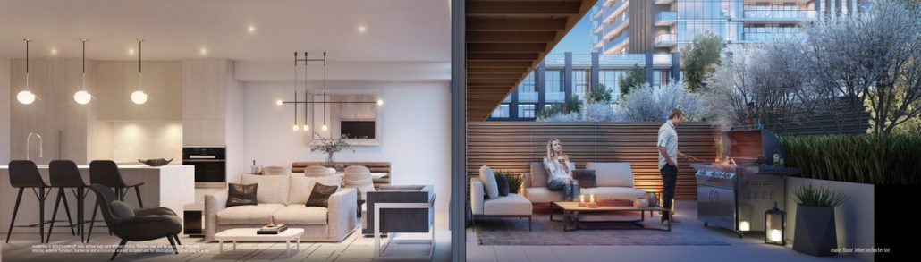 cross section view of a living room and terrace at ultrasonic condos