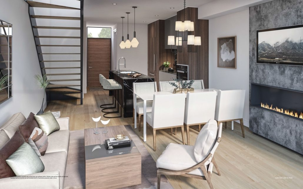 living room and kitchen with modern staircase at ultrasonic condos