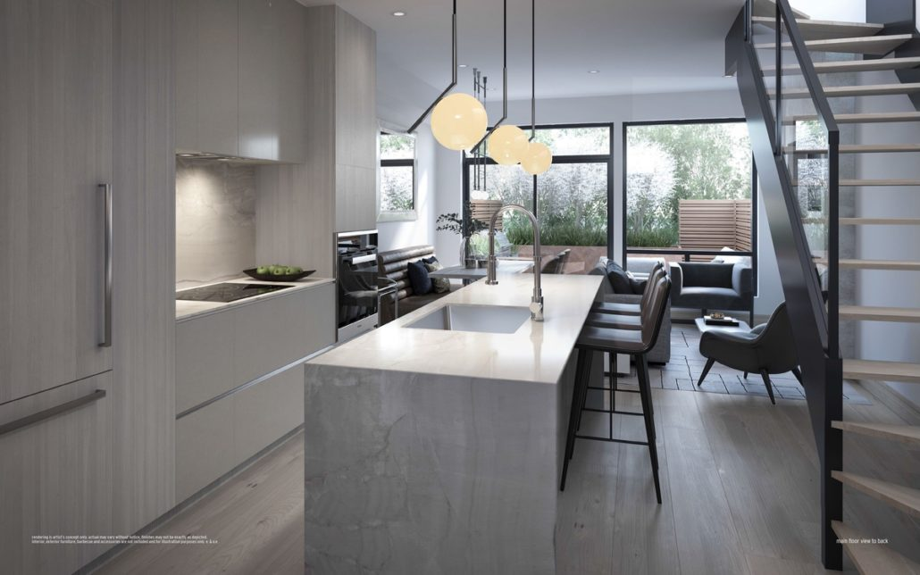 kitchen with modern staircase overlooking greenery and terrace at ultrasonic condos