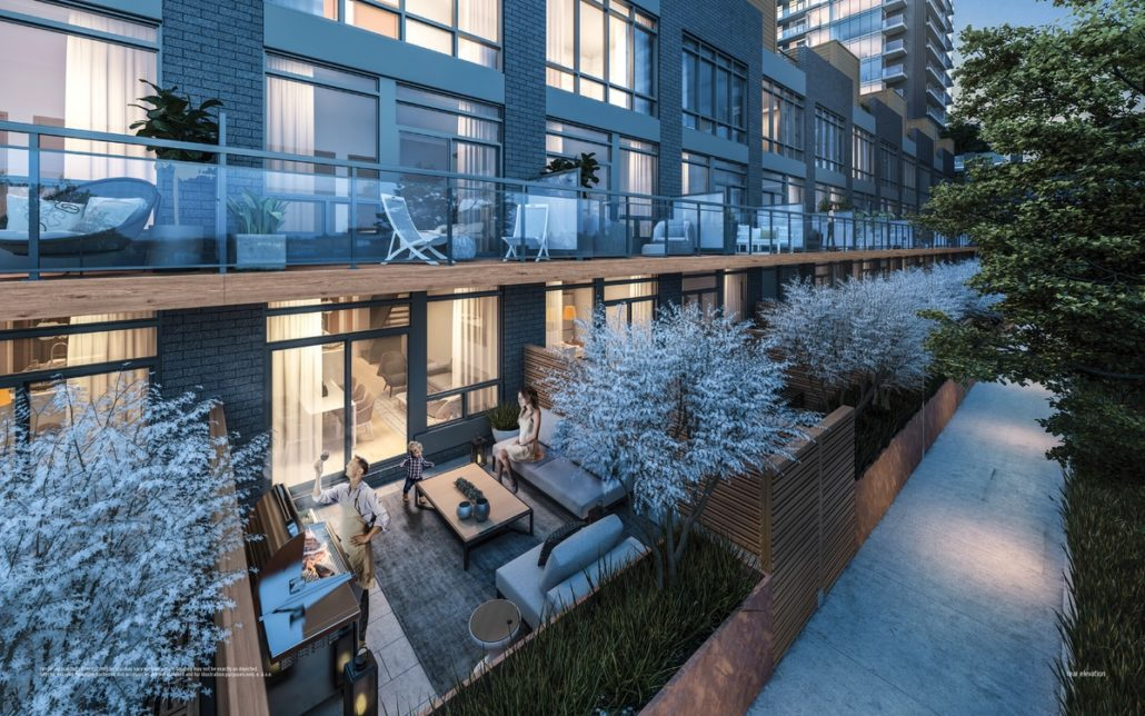 view of the private terraces at ultrasonic condos