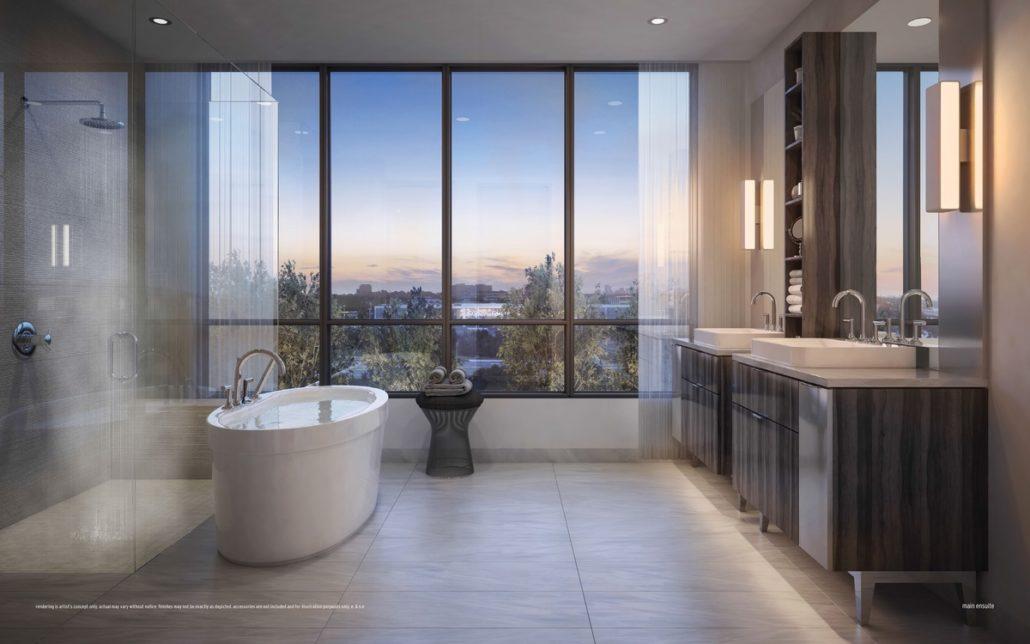 bathroom at ultrasonic condos overlooking trees