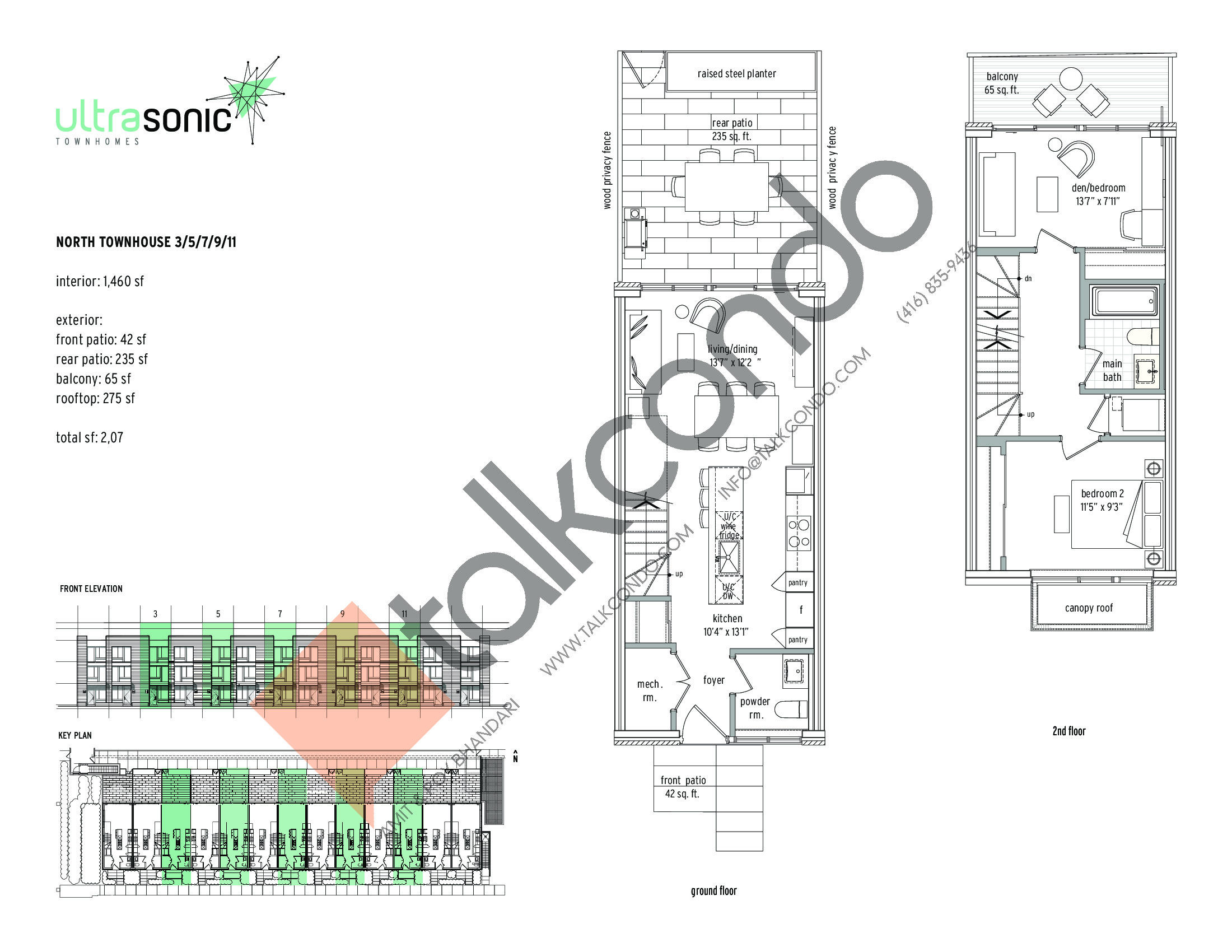 North Townhouse - 3 / 5 / 7 / 9 / 11 (1/2) Floor Plan at UltraSonic Towns - 1460 sq.ft