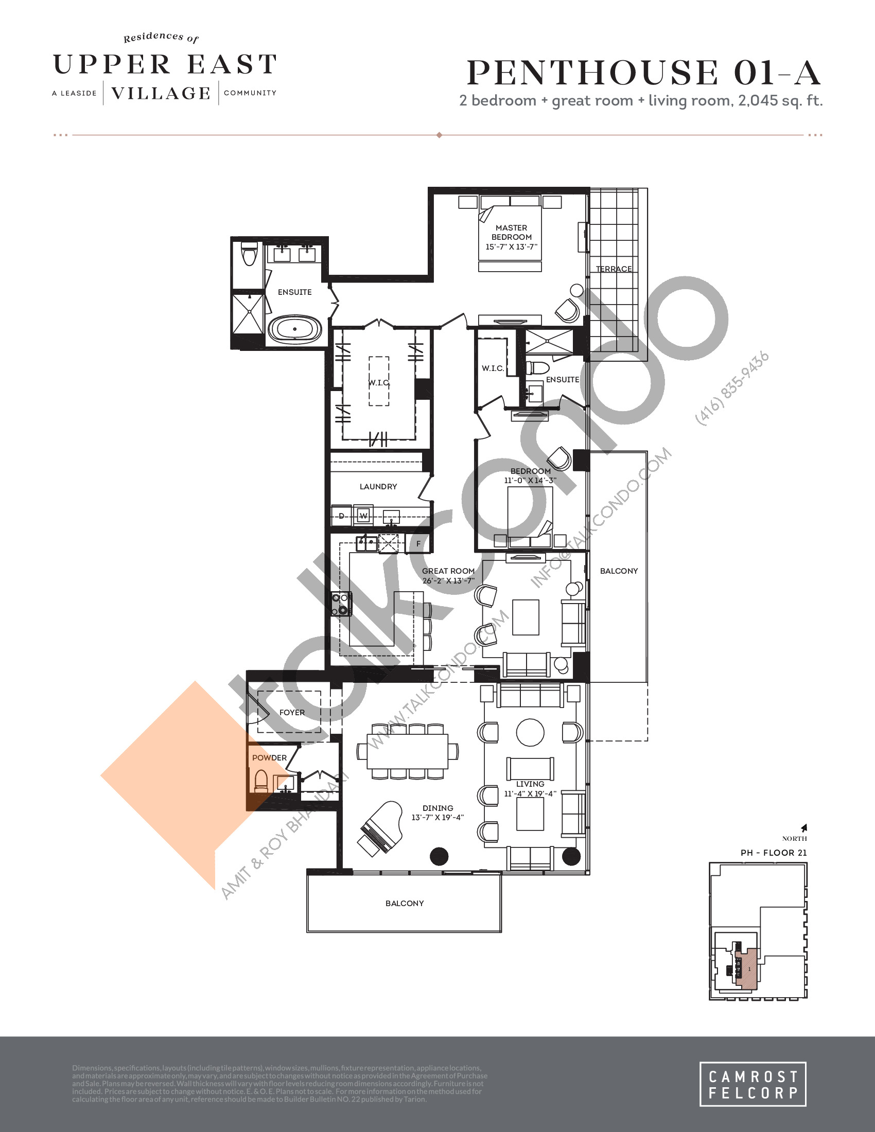 Penthouse 01-A Floor Plan at Upper East Village Condos - 2045 sq.ft