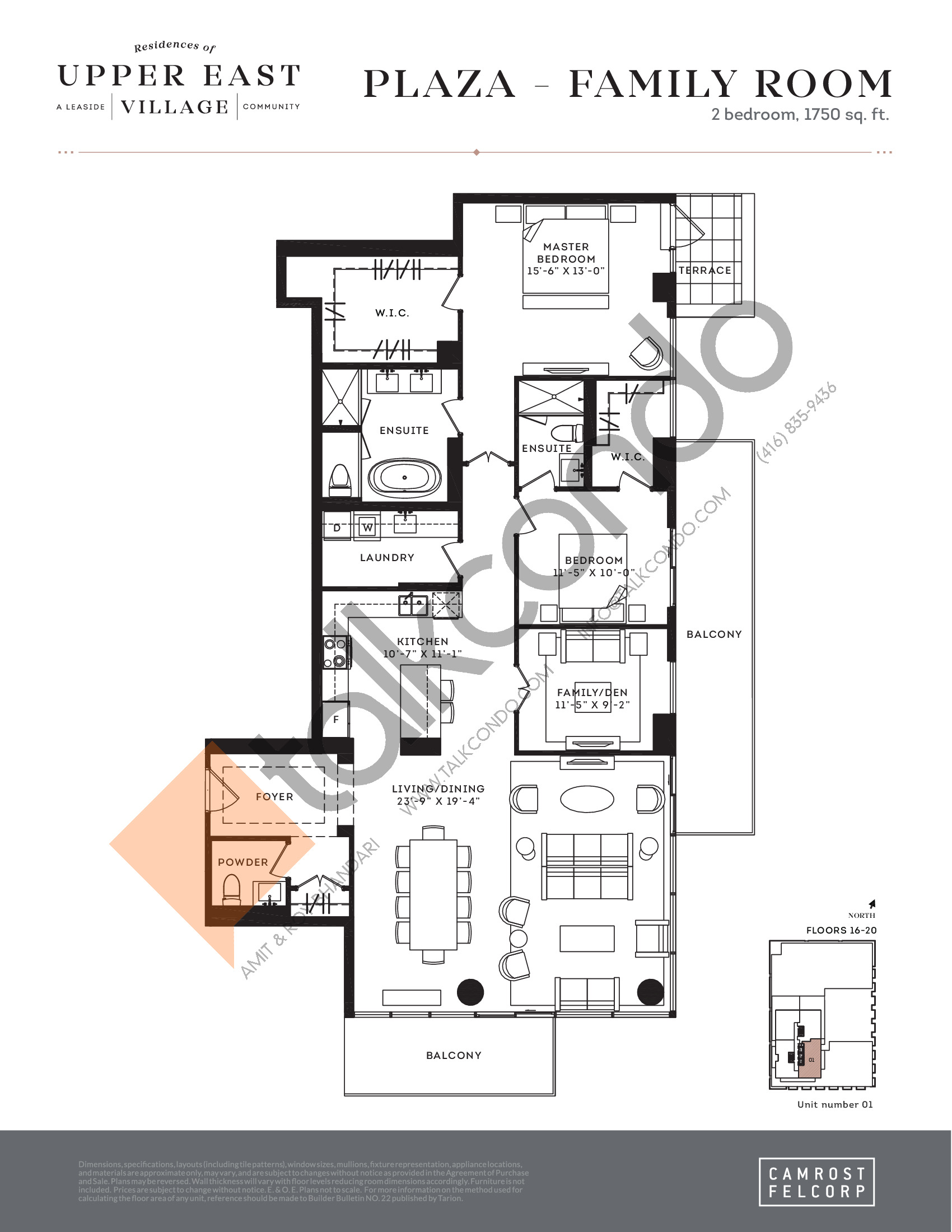 Plaza - Family Room Floor Plan at Upper East Village Condos - 1750 sq.ft