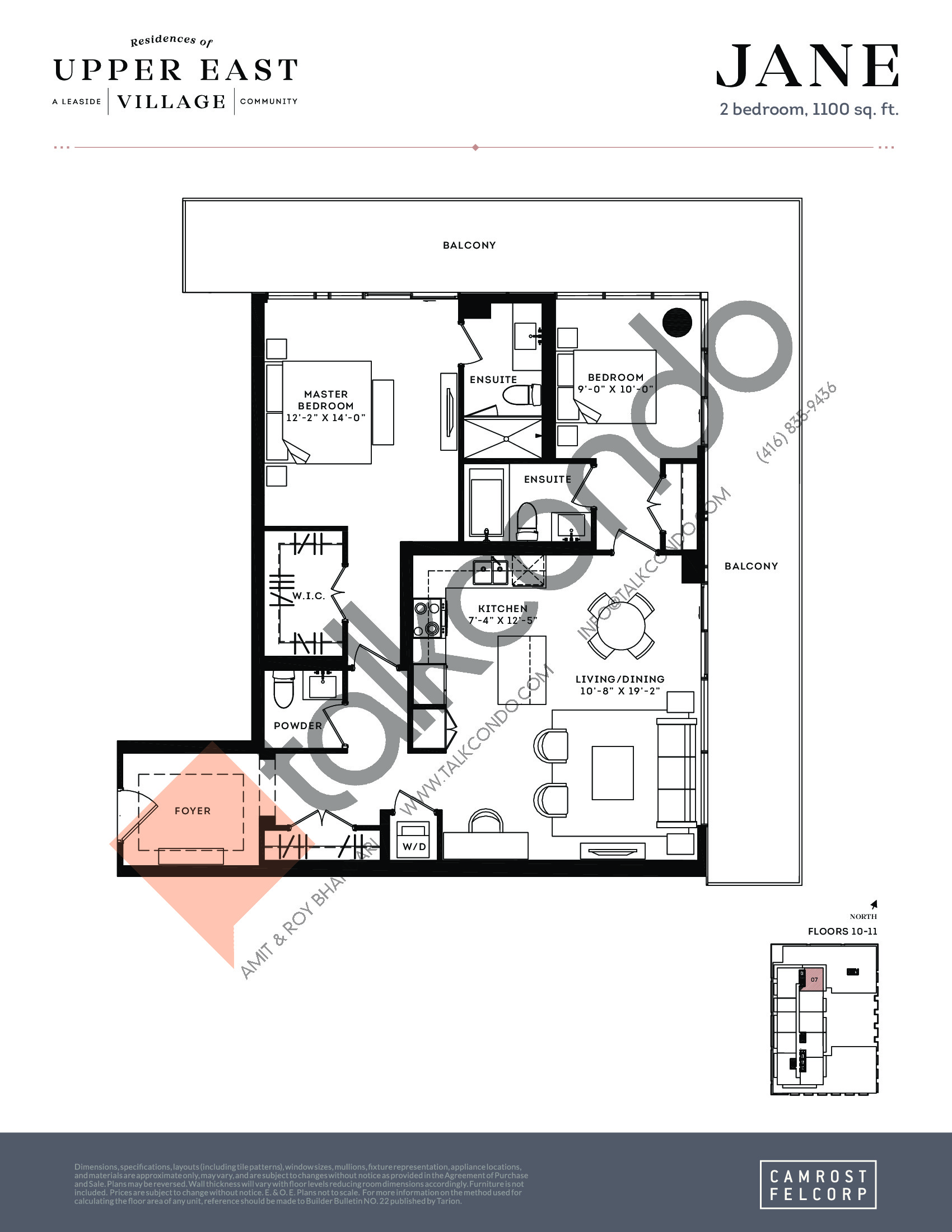 Jane (Signature Collection) Floor Plan at Upper East Village Condos - 1100 sq.ft