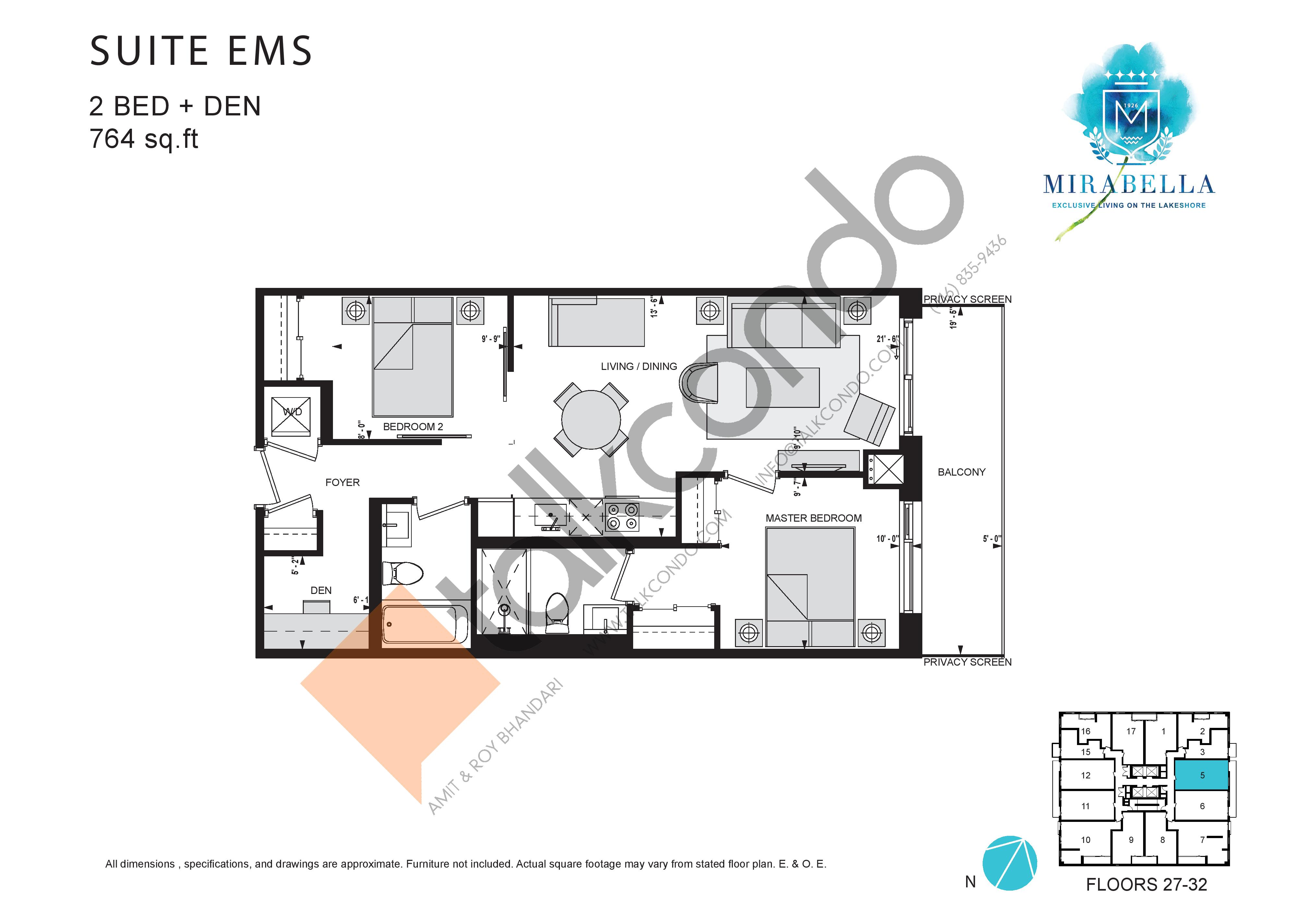 Suite EMS Floor Plan at Mirabella Luxury Condos East Tower - 764 sq.ft