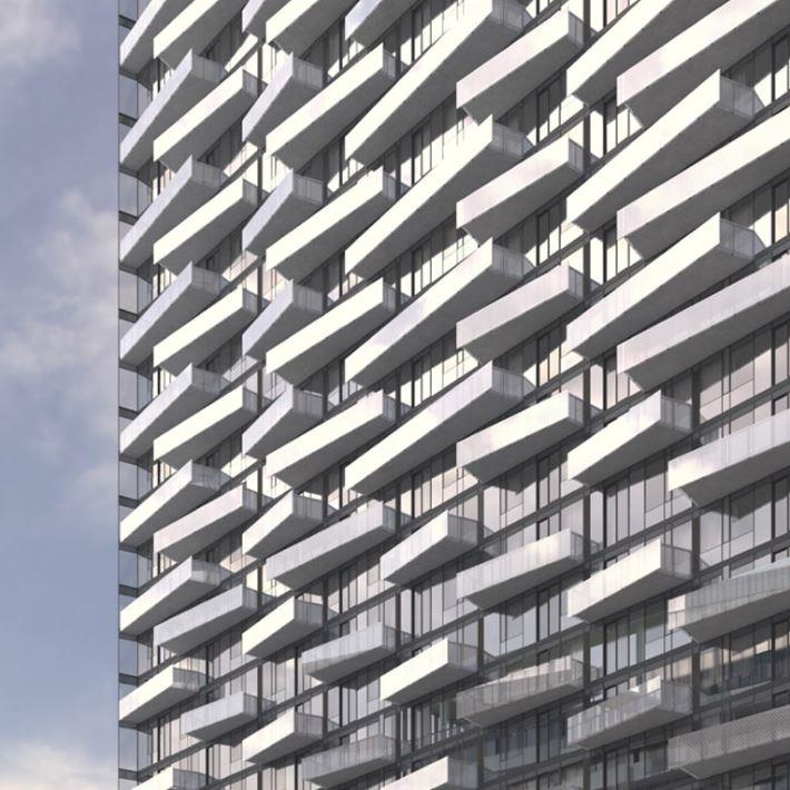 The Well Condos Balcony Detail Rendering