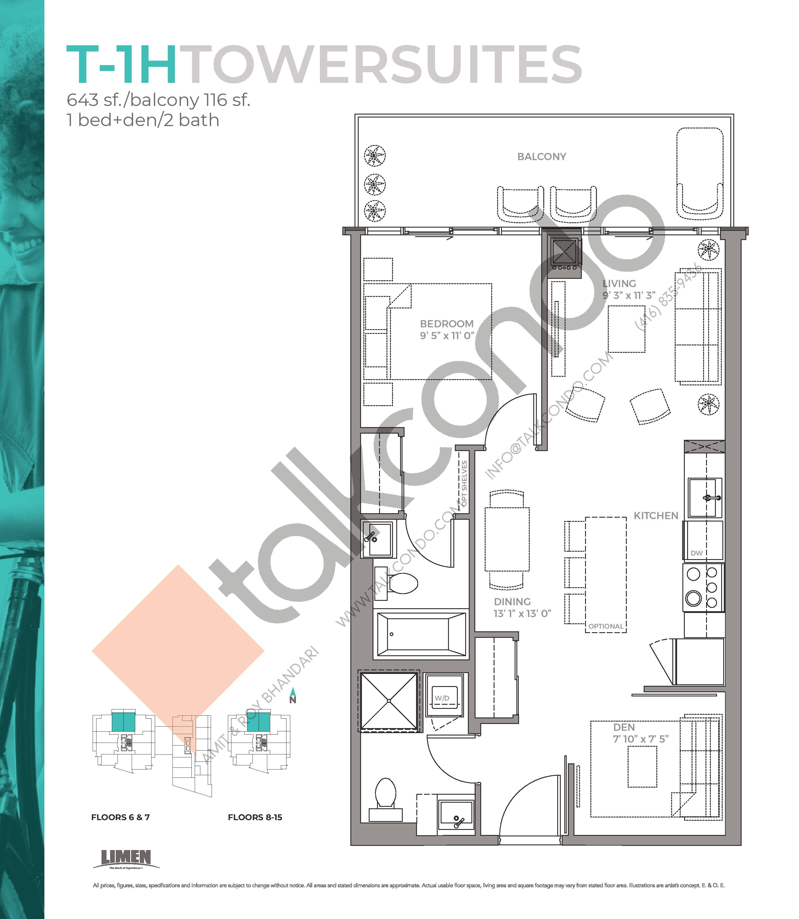 T-1H Towersuites Floor Plan at East Junction Condos - 643 sq.ft