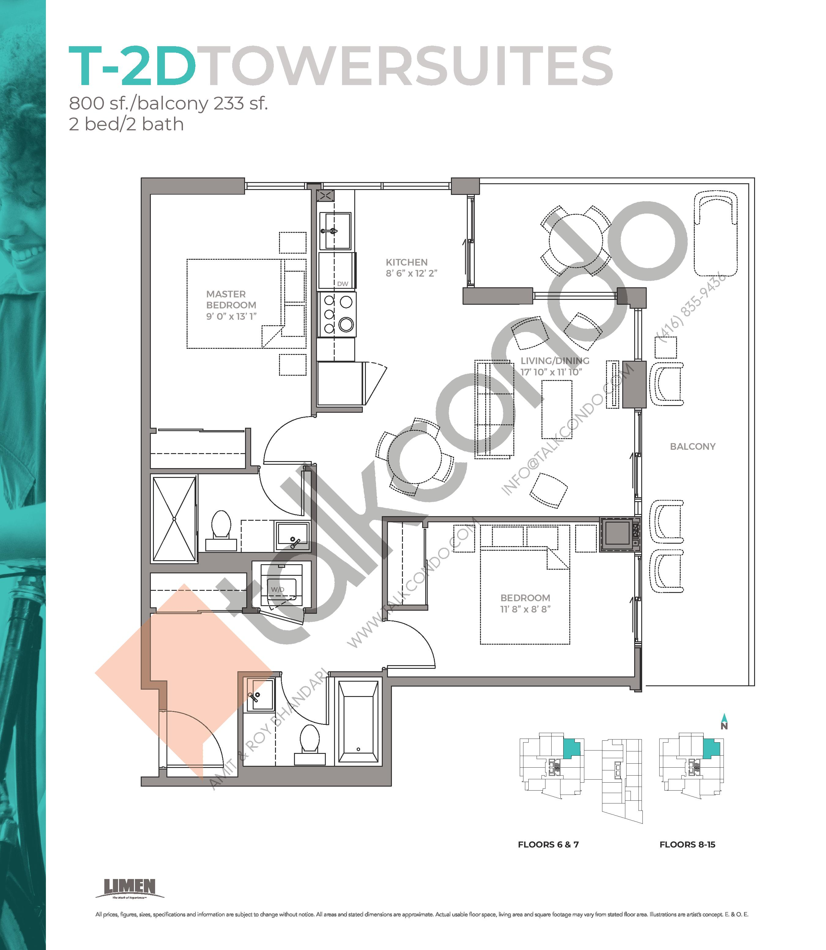 T-2D Towersuites Floor Plan at East Junction Condos - 800 sq.ft