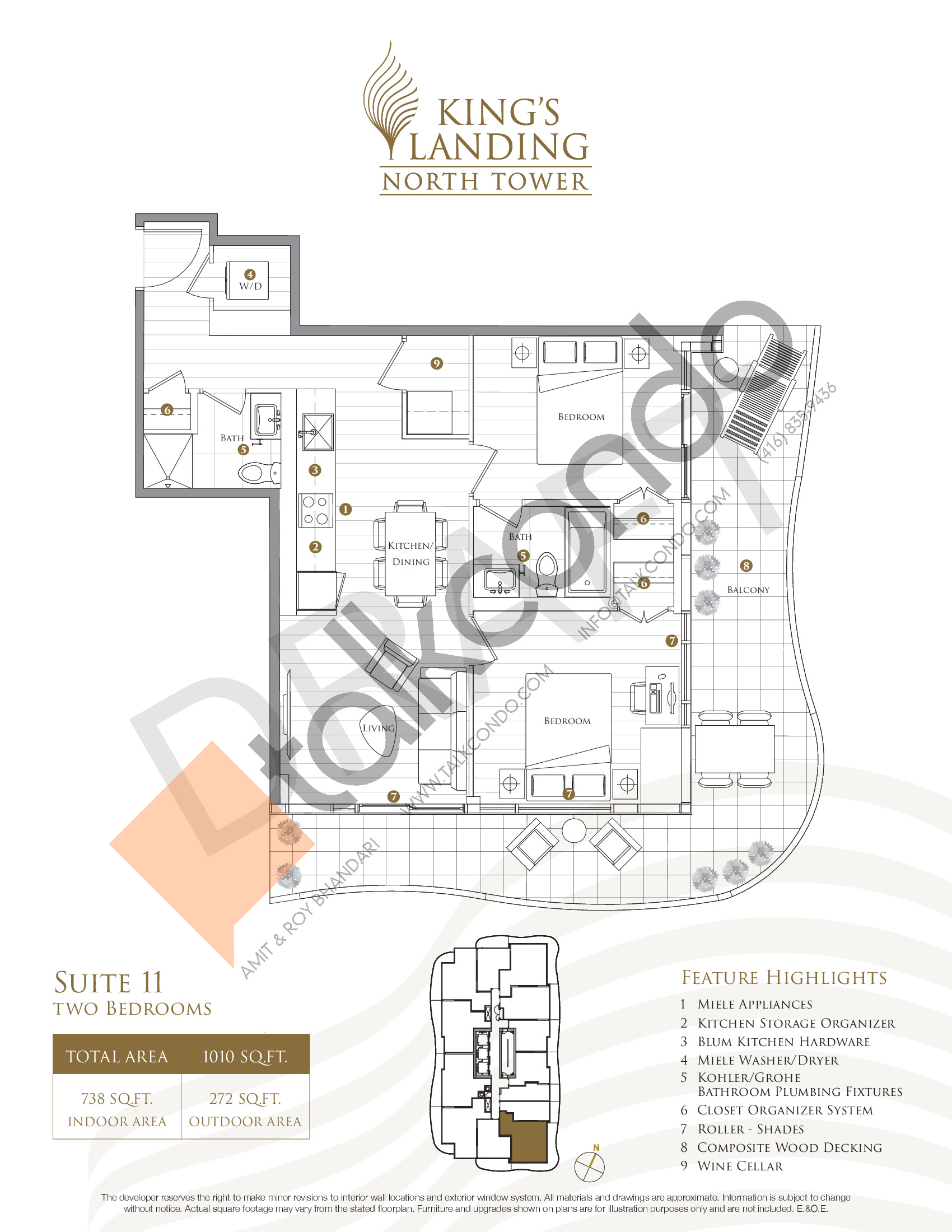 Suite 11 Floor Plan at King's Landing Phase 2 Condos - 738 sq.ft
