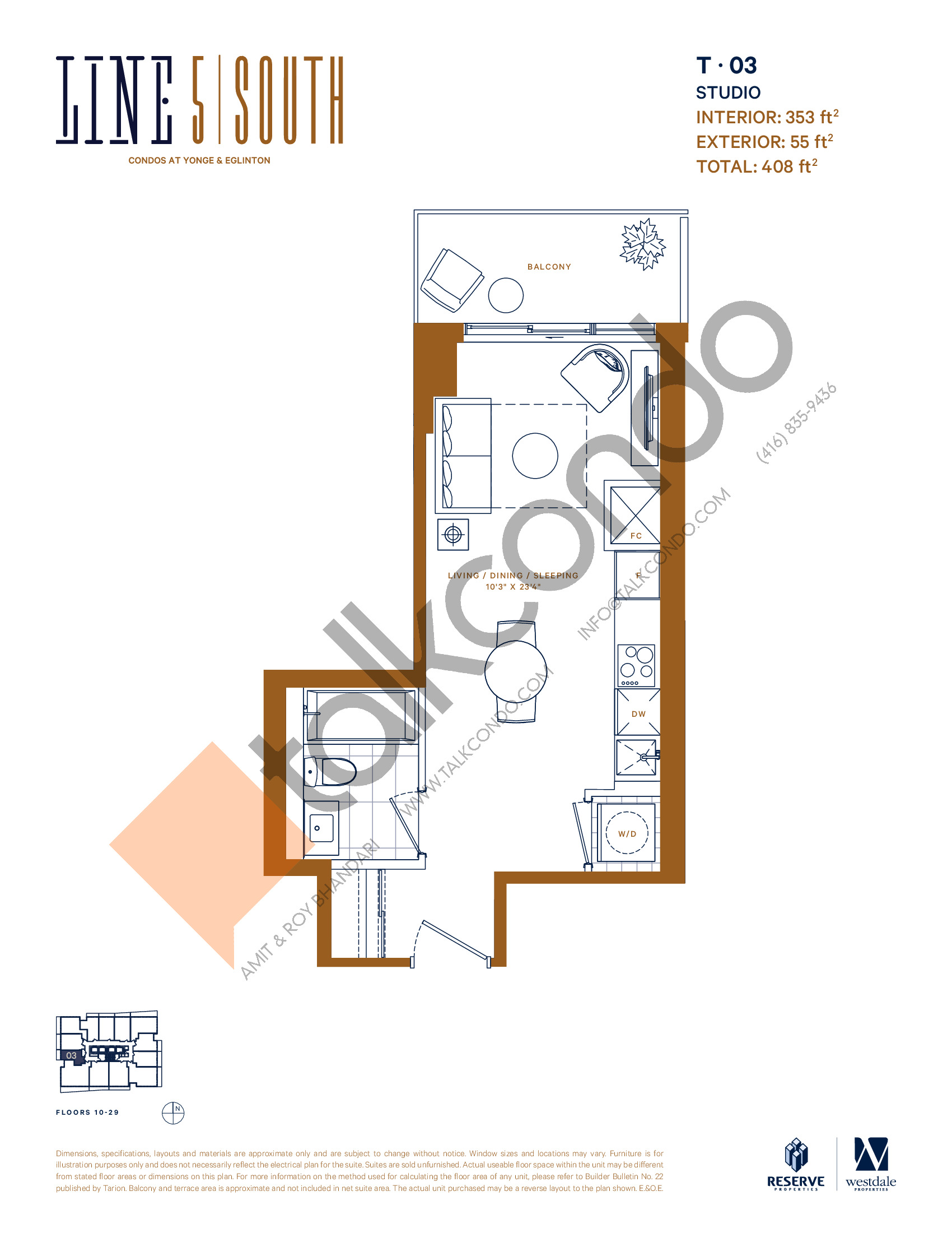 T-03 Floor Plan at Line 5 South Tower Condos - 353 sq.ft
